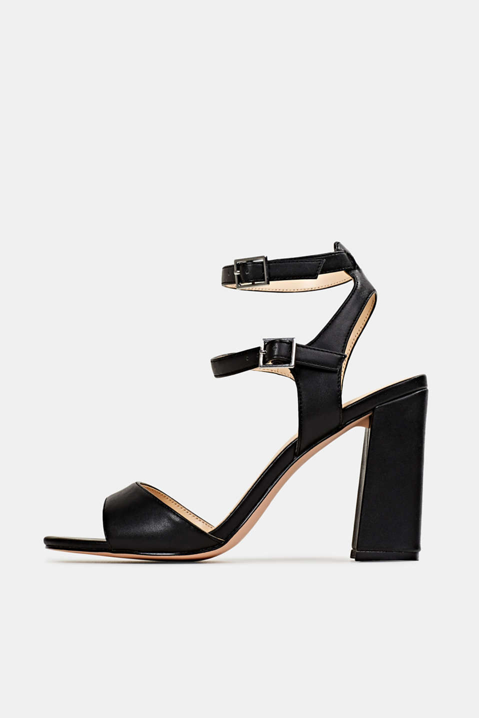 Faux leather sandals, BLACK, detail image number 0
