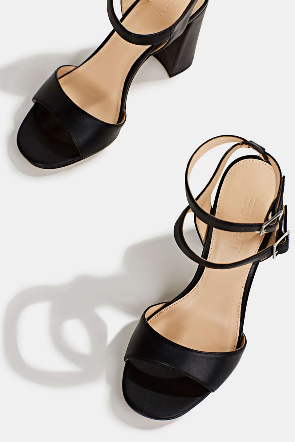 Faux leather sandals, BLACK, detail image number 1