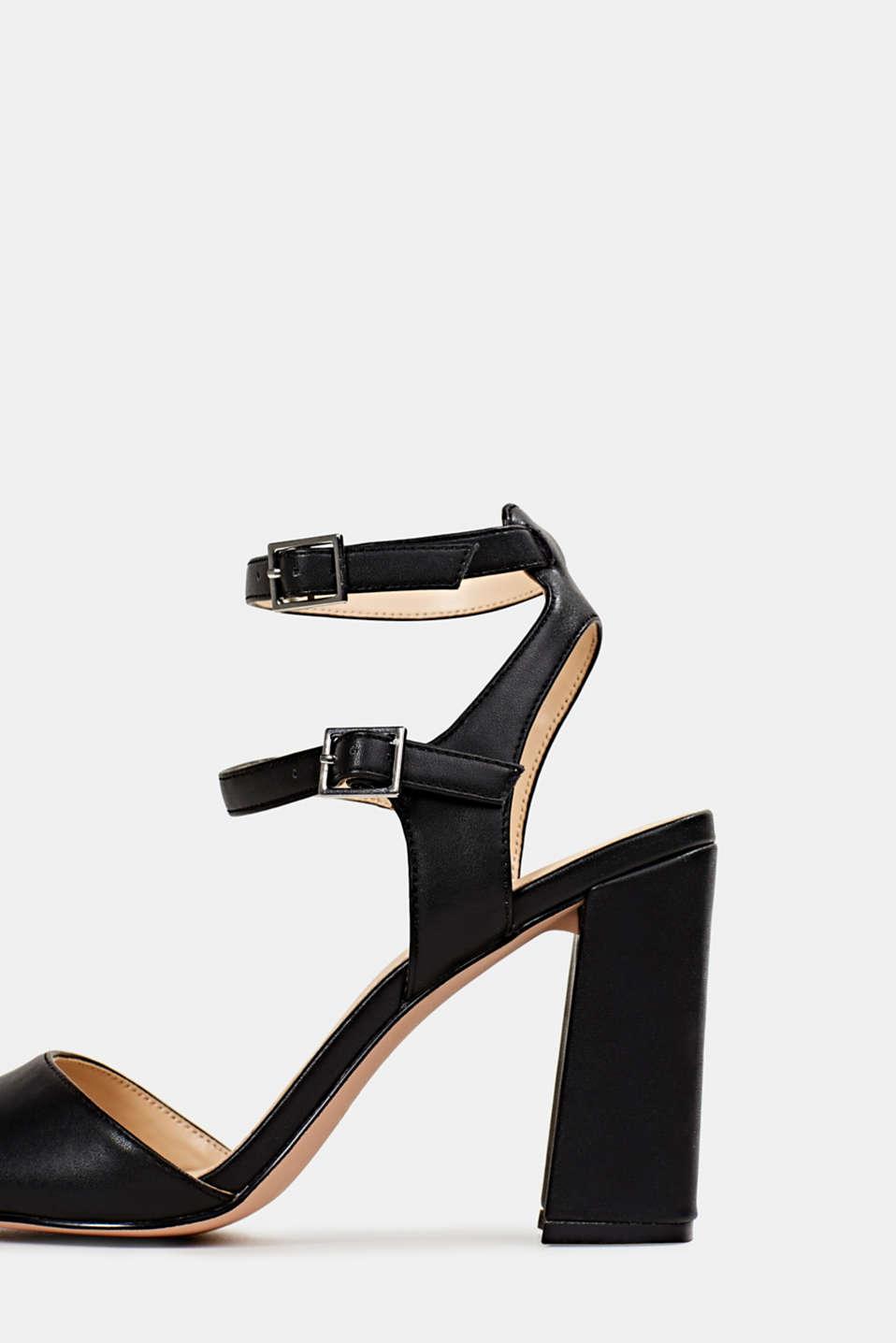 Faux leather sandals, BLACK, detail image number 4