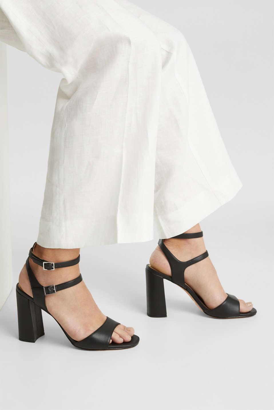Faux leather sandals, BLACK, detail image number 3