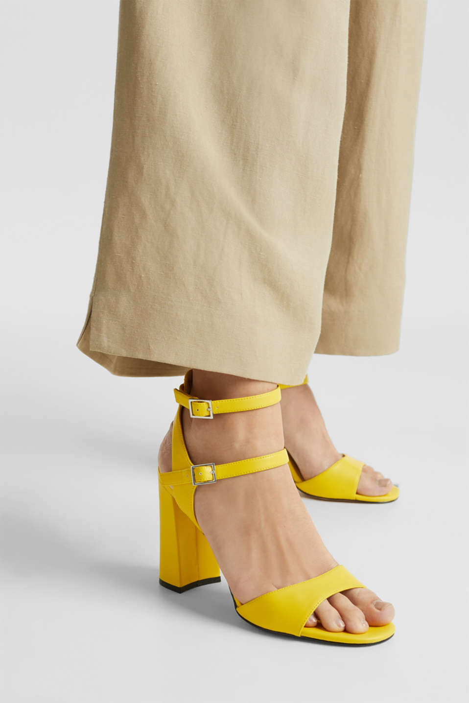 Faux leather sandals, YELLOW, detail image number 3