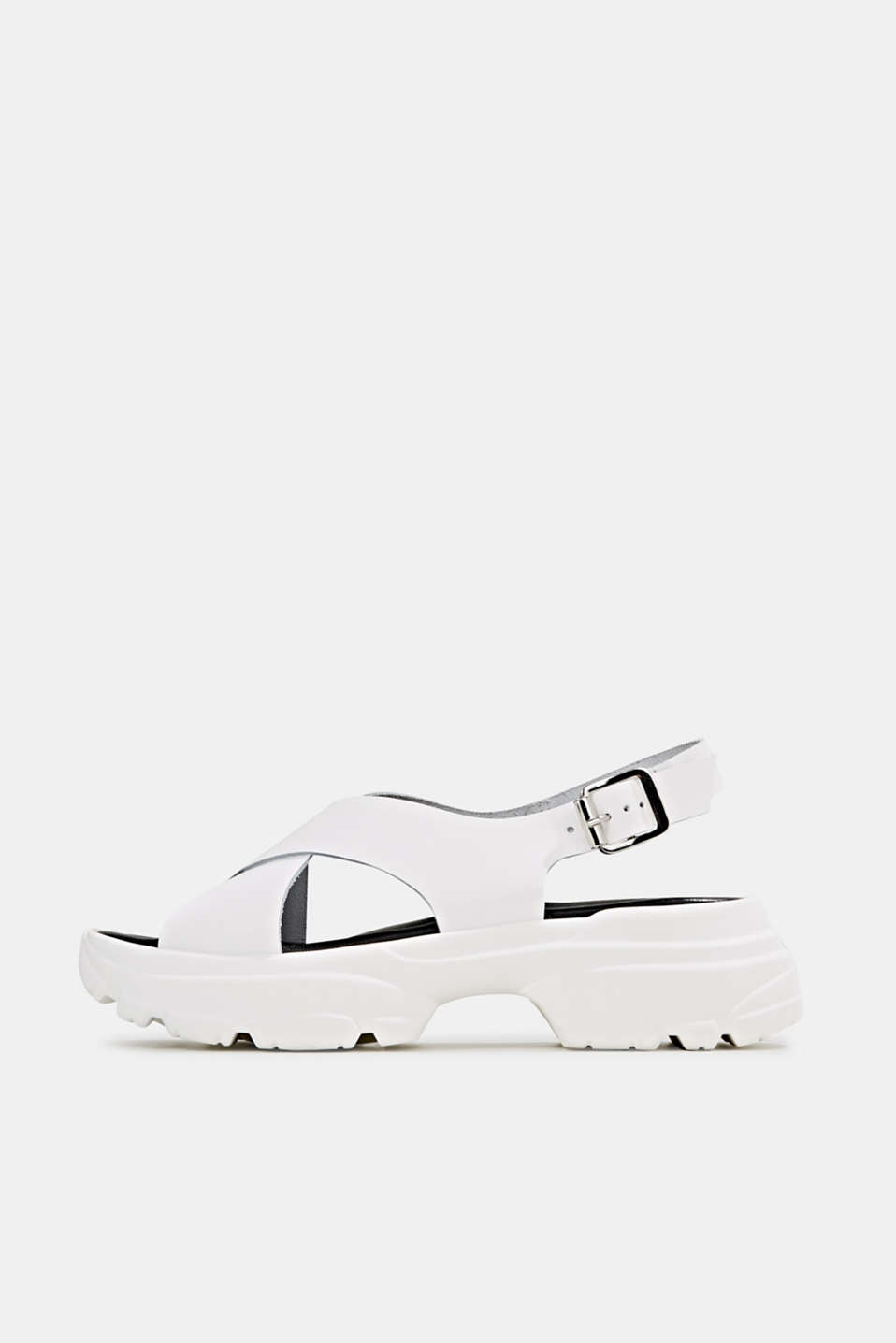 Leather trainer sandals, WHITE, detail image number 0