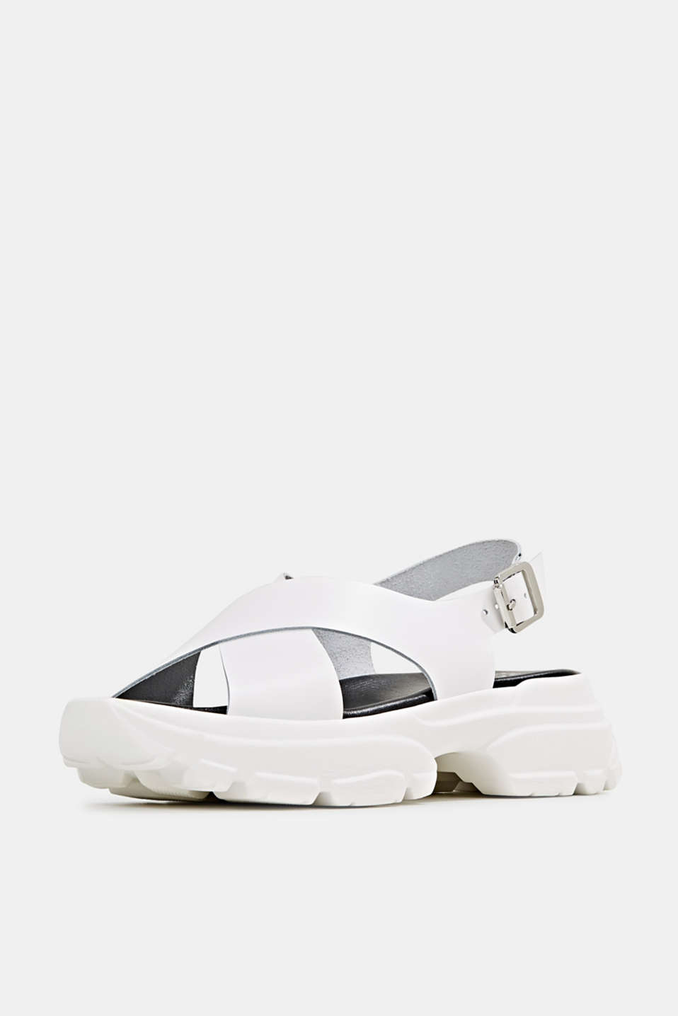 Leather trainer sandals, WHITE, detail image number 1