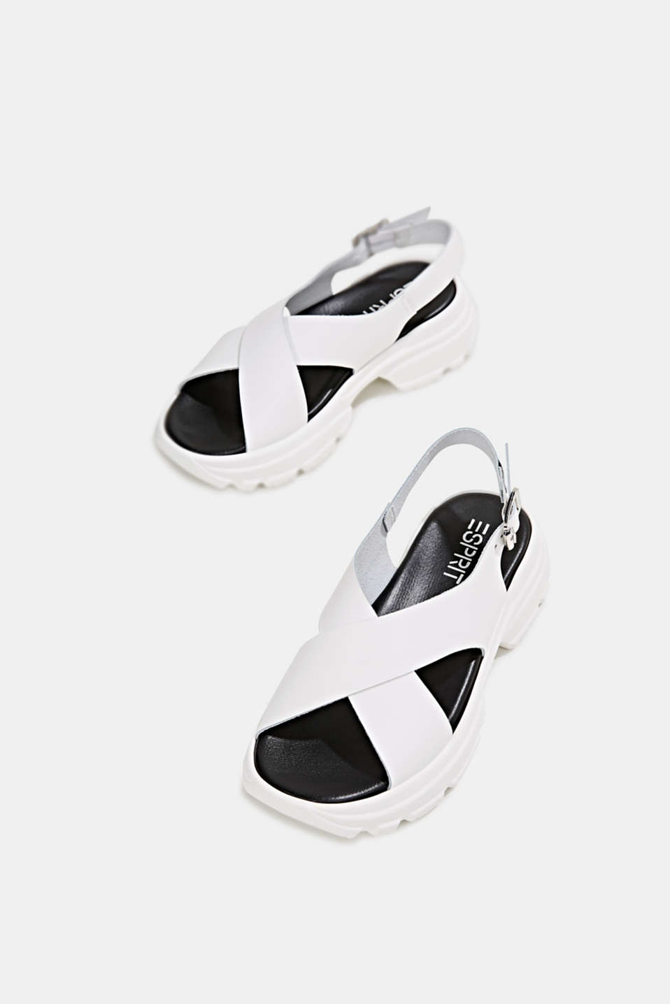Leather trainer sandals, WHITE, detail image number 5