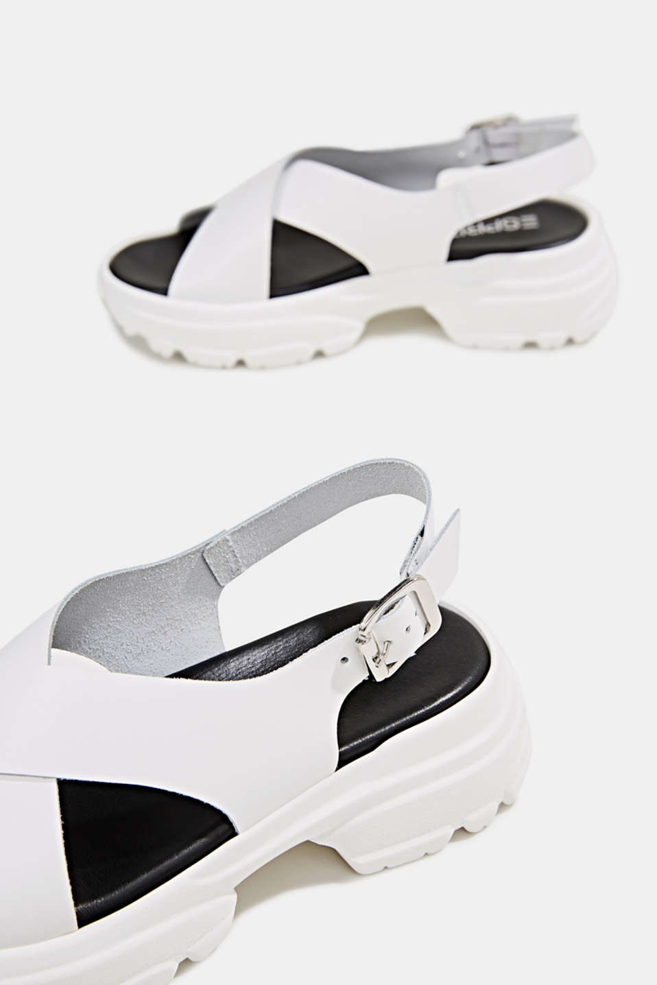 Leather trainer sandals, WHITE, detail image number 4