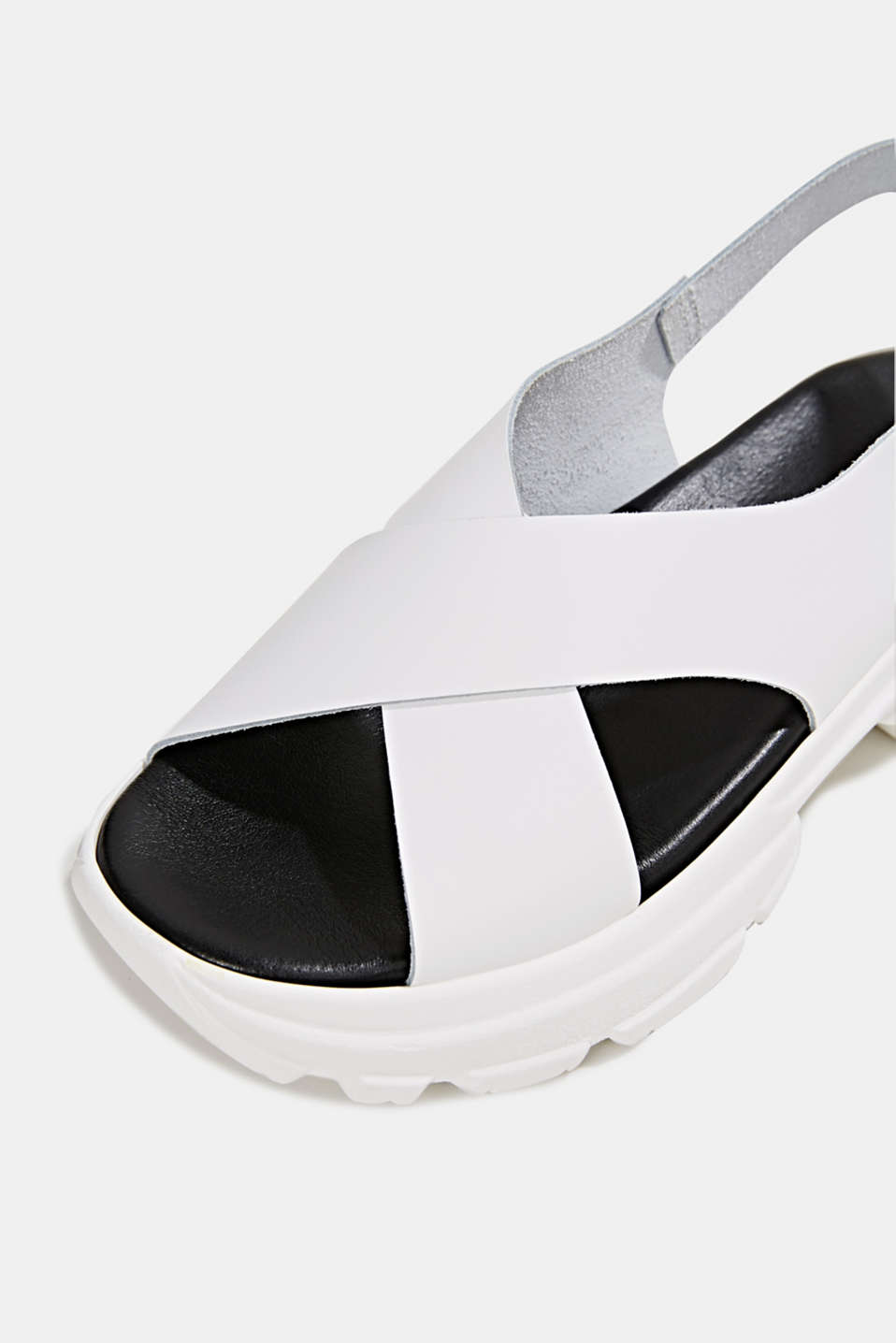 Leather trainer sandals, WHITE, detail image number 3