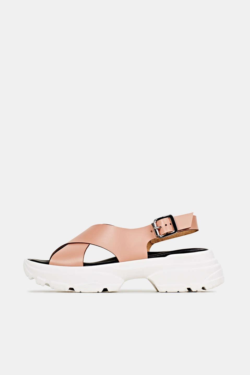 Leather trainer sandals, BLUSH, detail image number 0