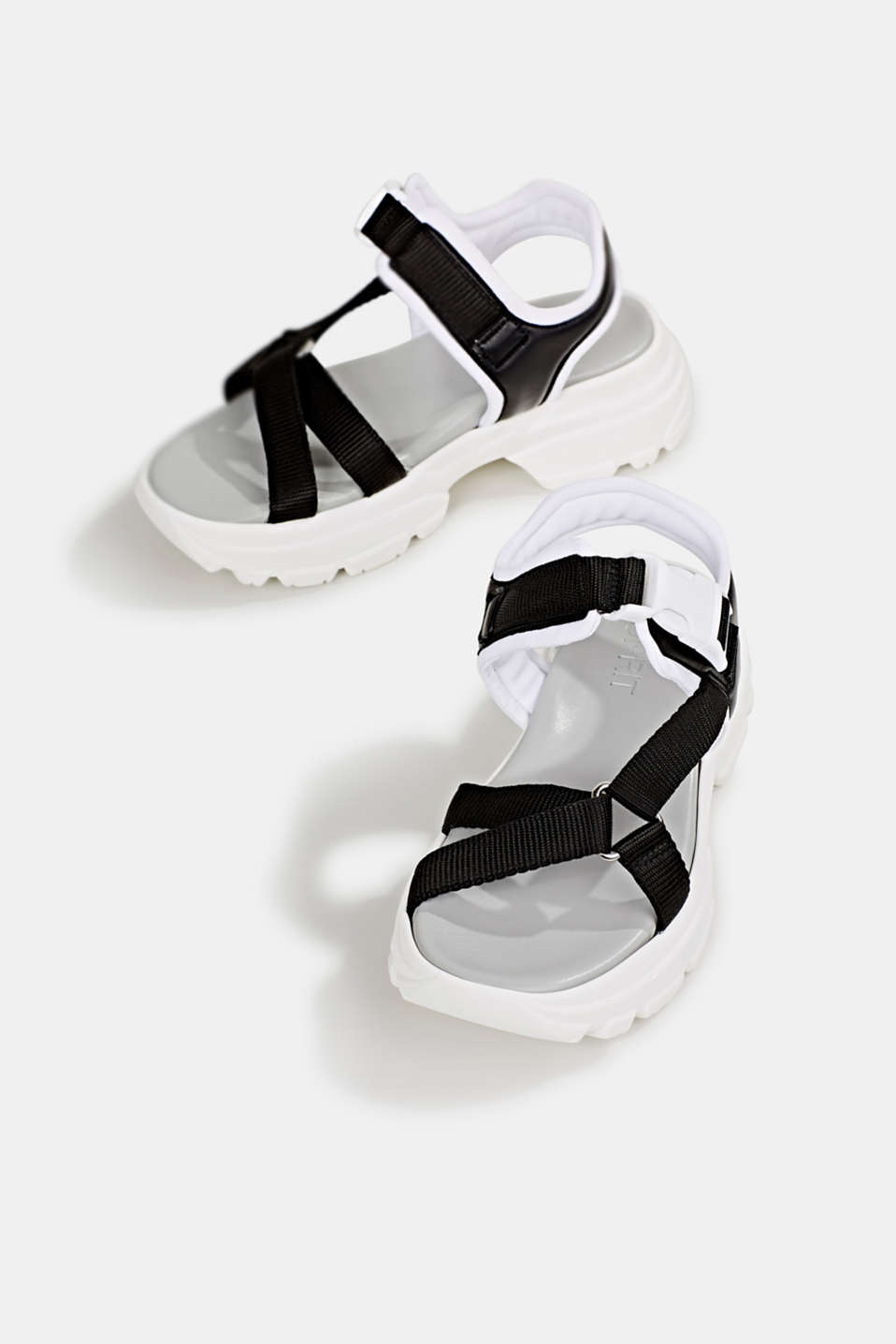 Hiking sandals with trainer soles, BLACK, detail image number 1