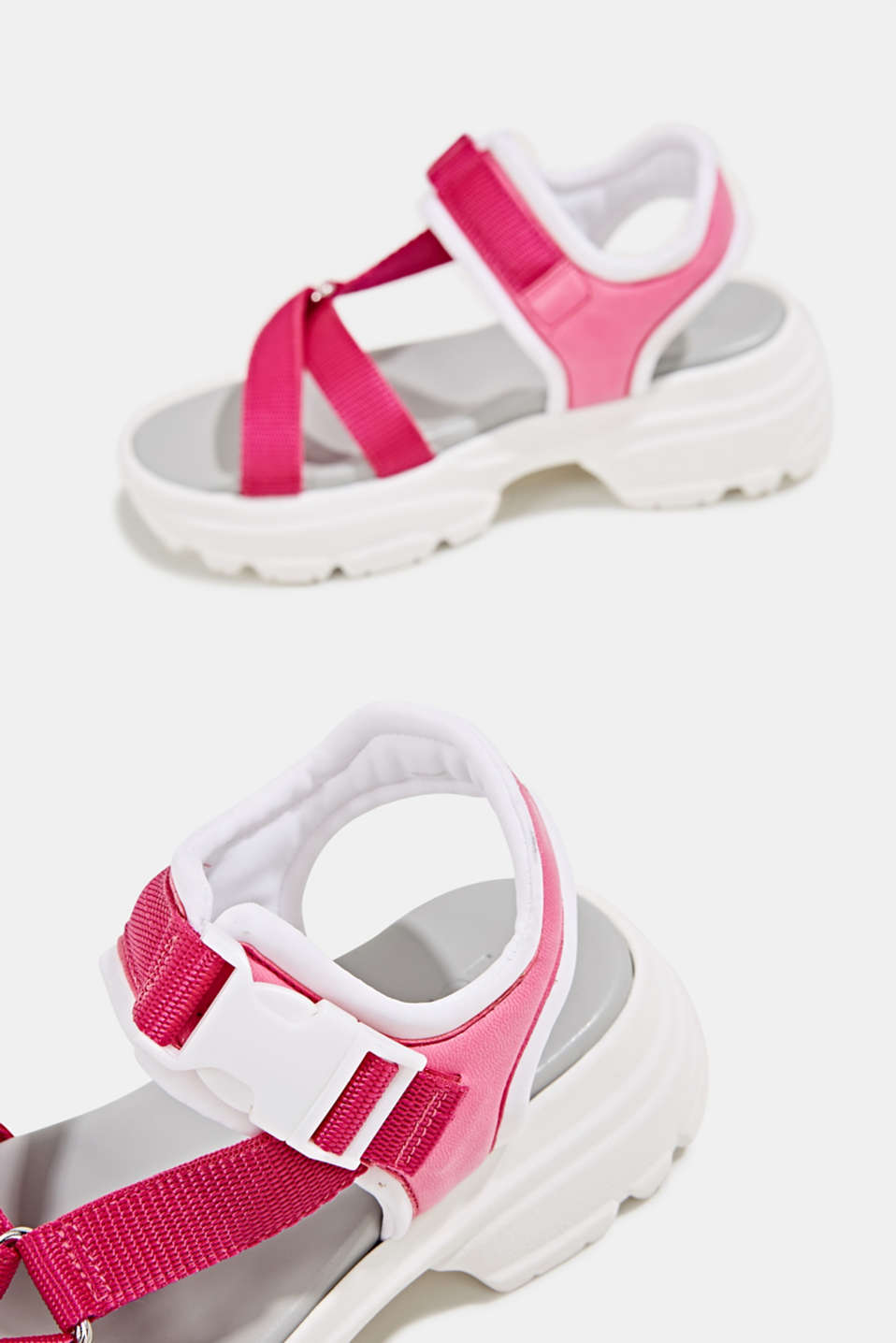 Hiking sandals with trainer soles, PINK FUCHSIA, detail image number 5