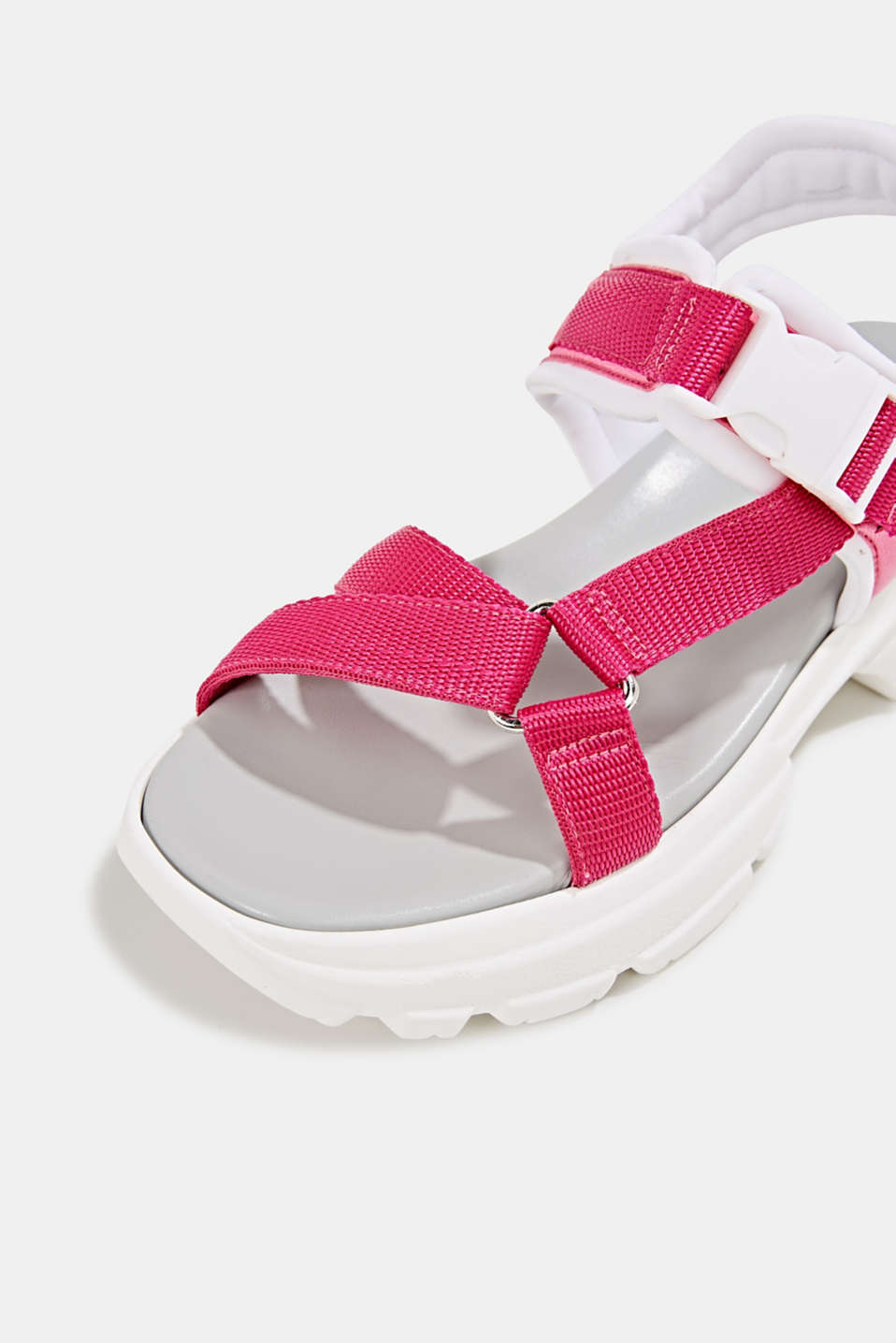 Hiking sandals with trainer soles, PINK FUCHSIA, detail image number 4