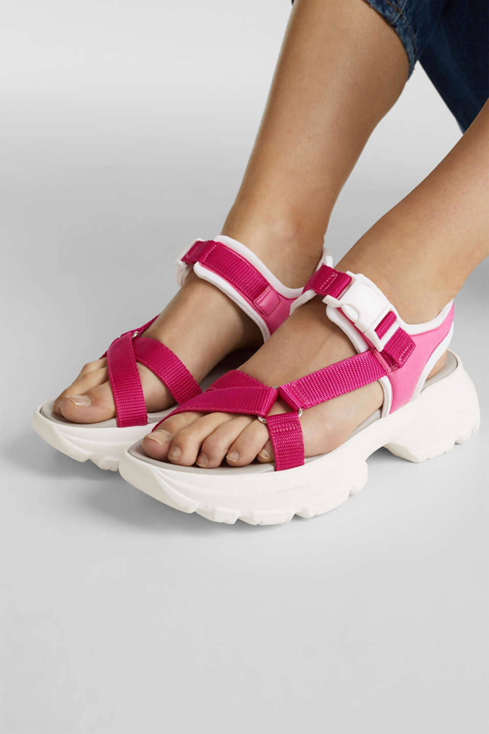 Hiking sandals with trainer soles, PINK FUCHSIA, detail image number 3