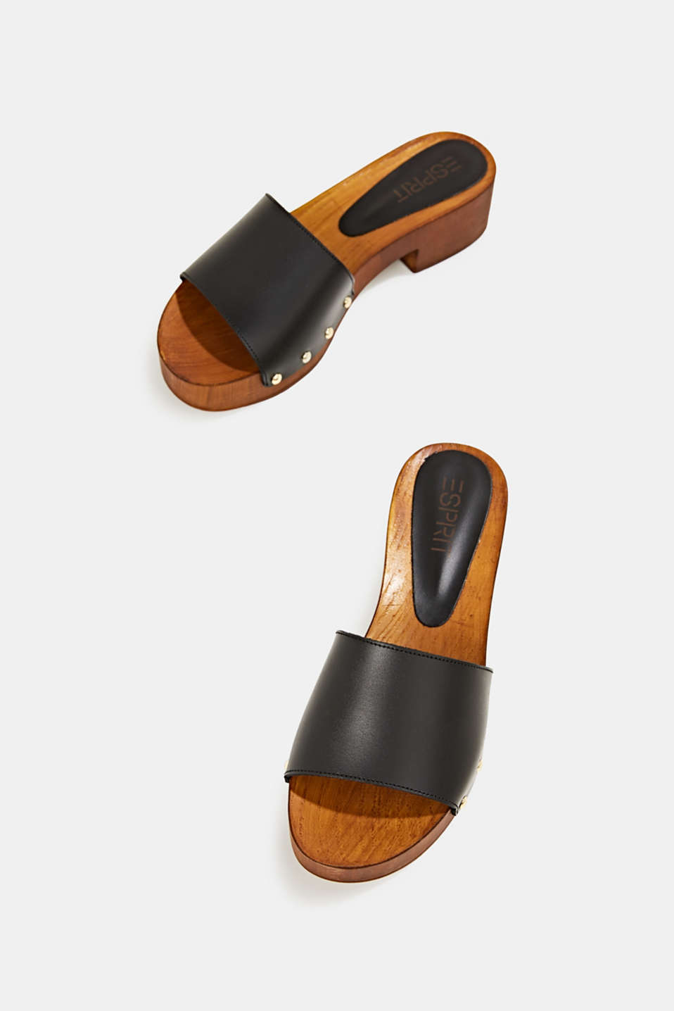 Made of leather: clog sandals, BLACK, detail image number 1