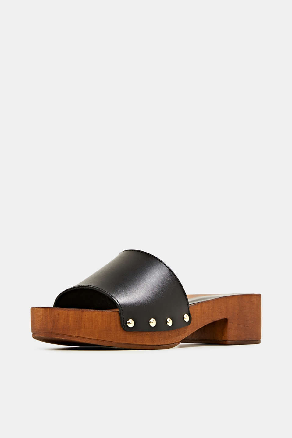 Made of leather: clog sandals, BLACK, detail image number 2