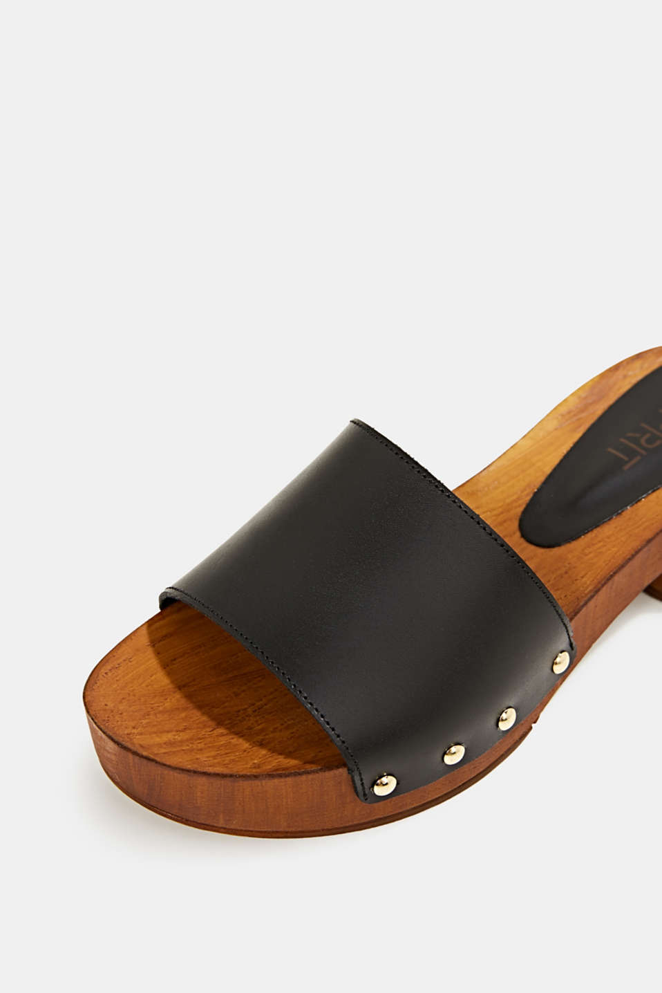 Made of leather: clog sandals, BLACK, detail image number 4