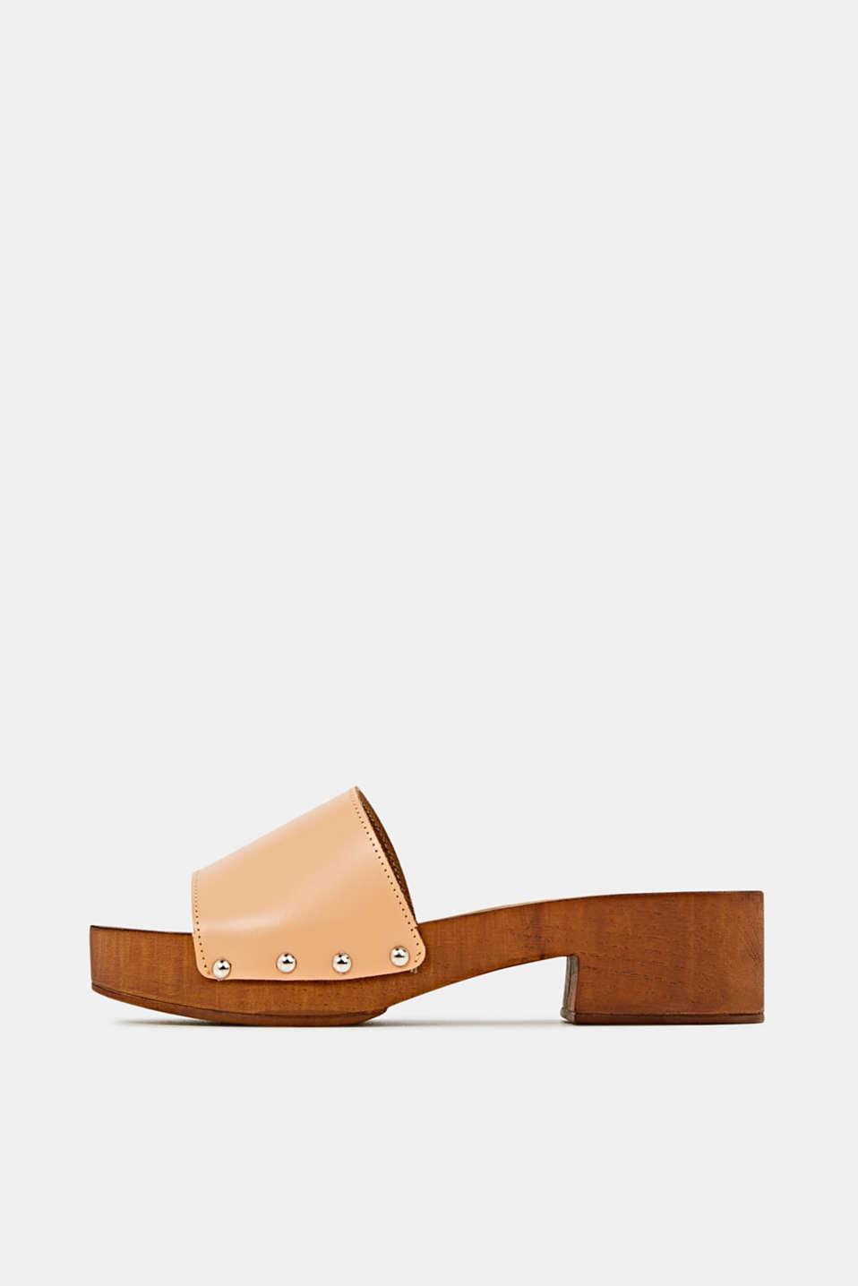 Made of leather: clog sandals, CARAMEL, detail image number 0