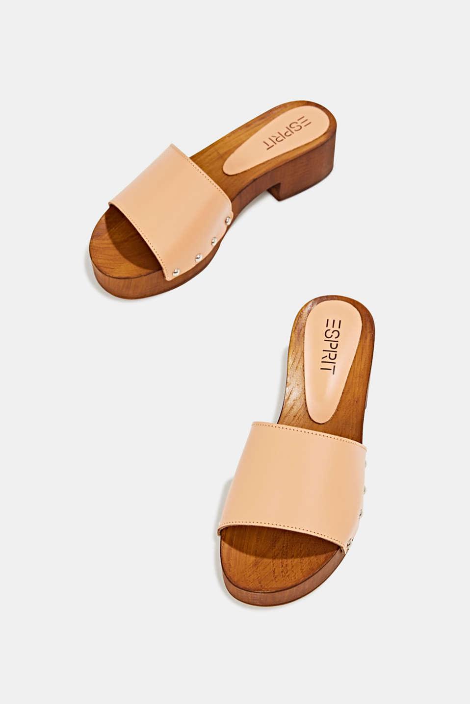 Made of leather: clog sandals, CARAMEL, detail image number 1