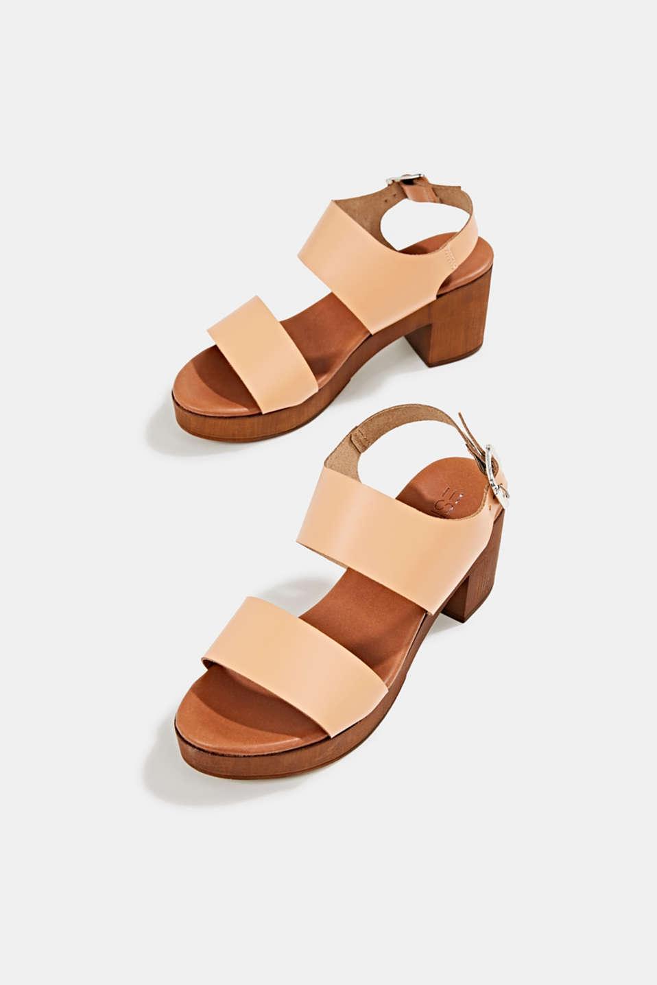 Faux leather sandal, CARAMEL, detail image number 1