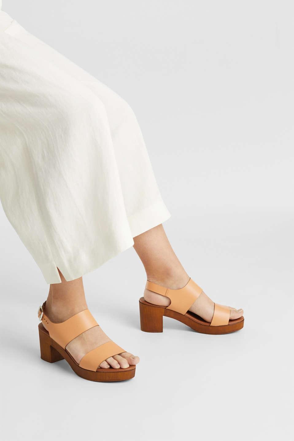 Faux leather sandal, CARAMEL, detail image number 3