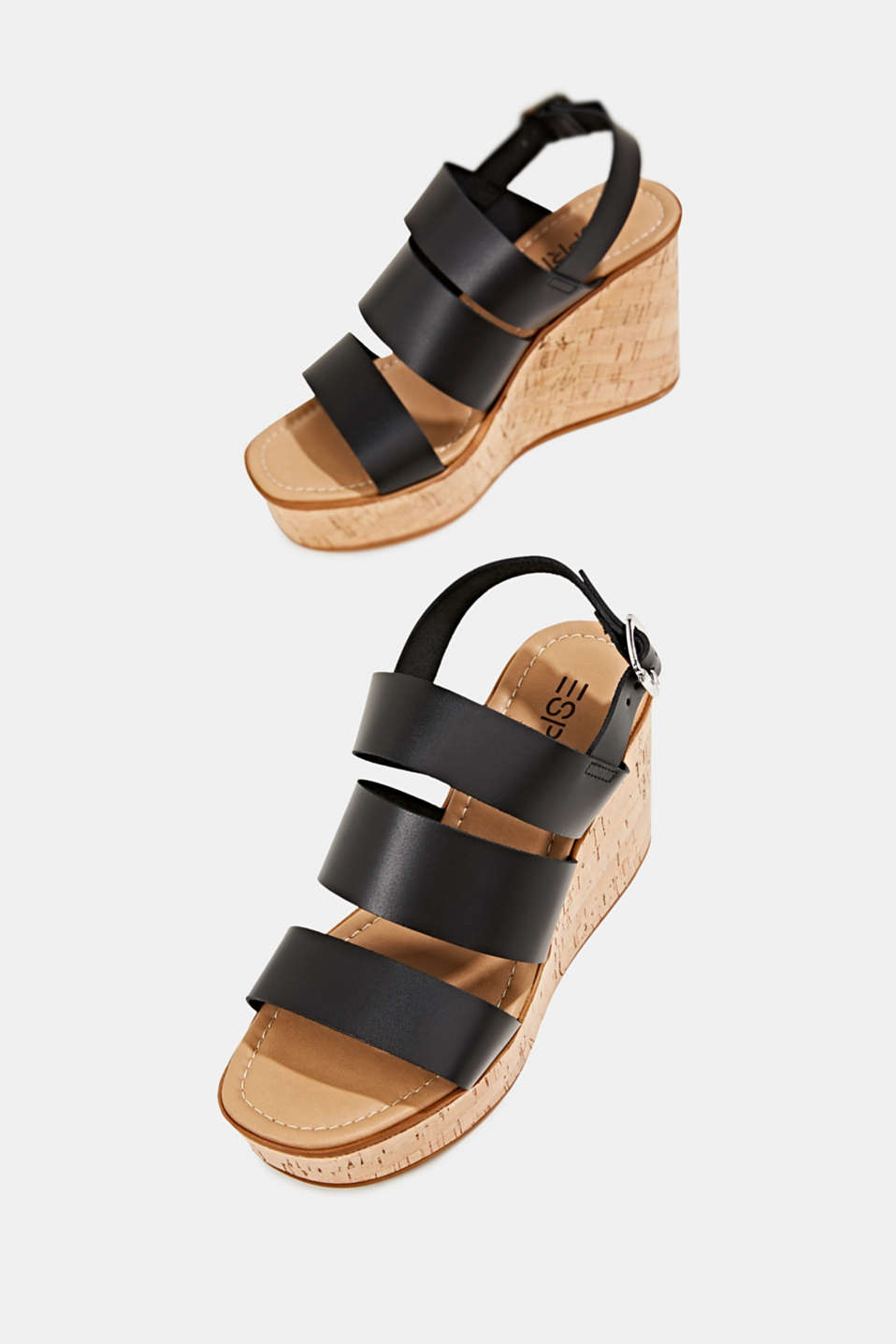 Leather wedge sandals, BLACK, detail image number 4