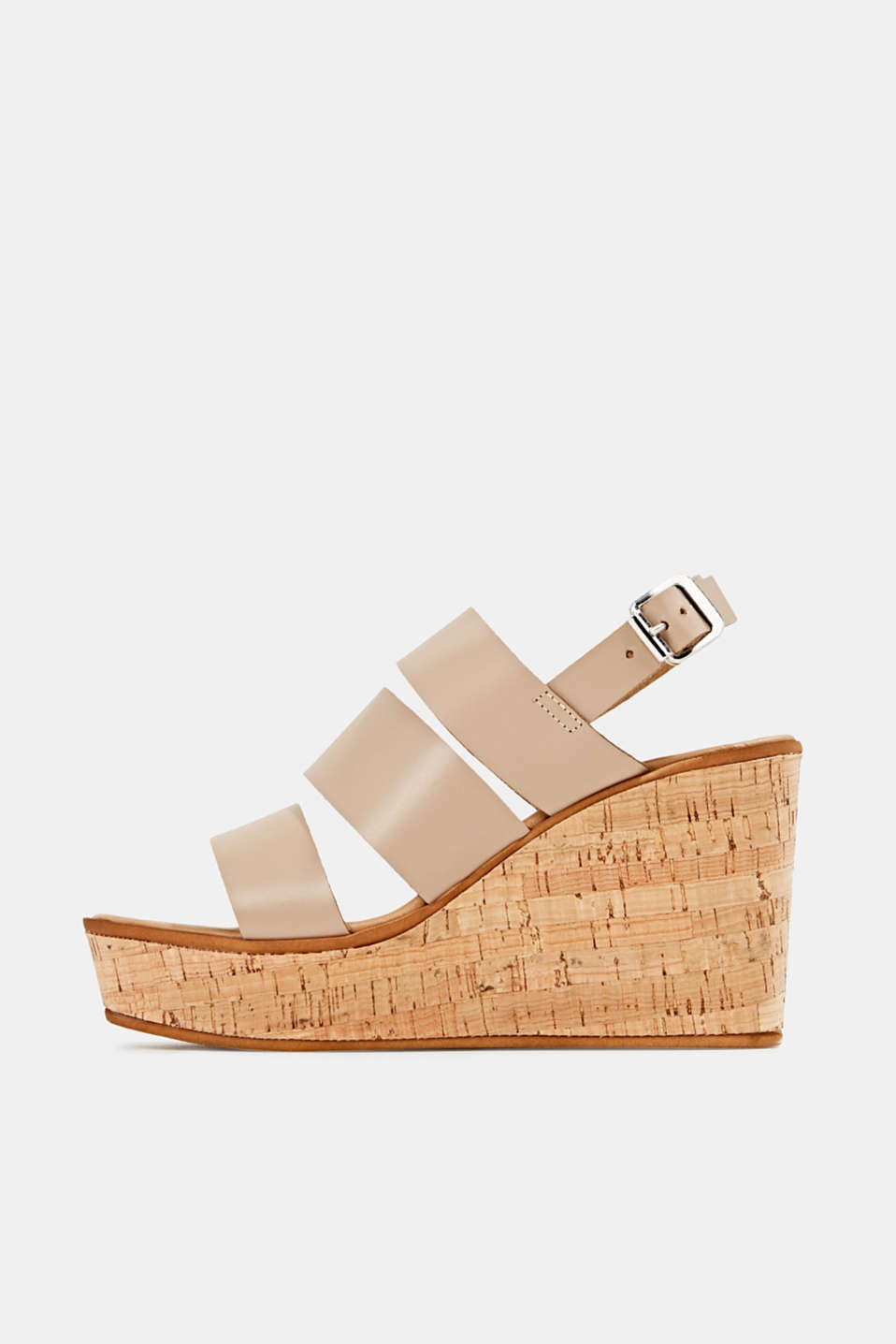 Leather wedge sandals, BEIGE, detail image number 0