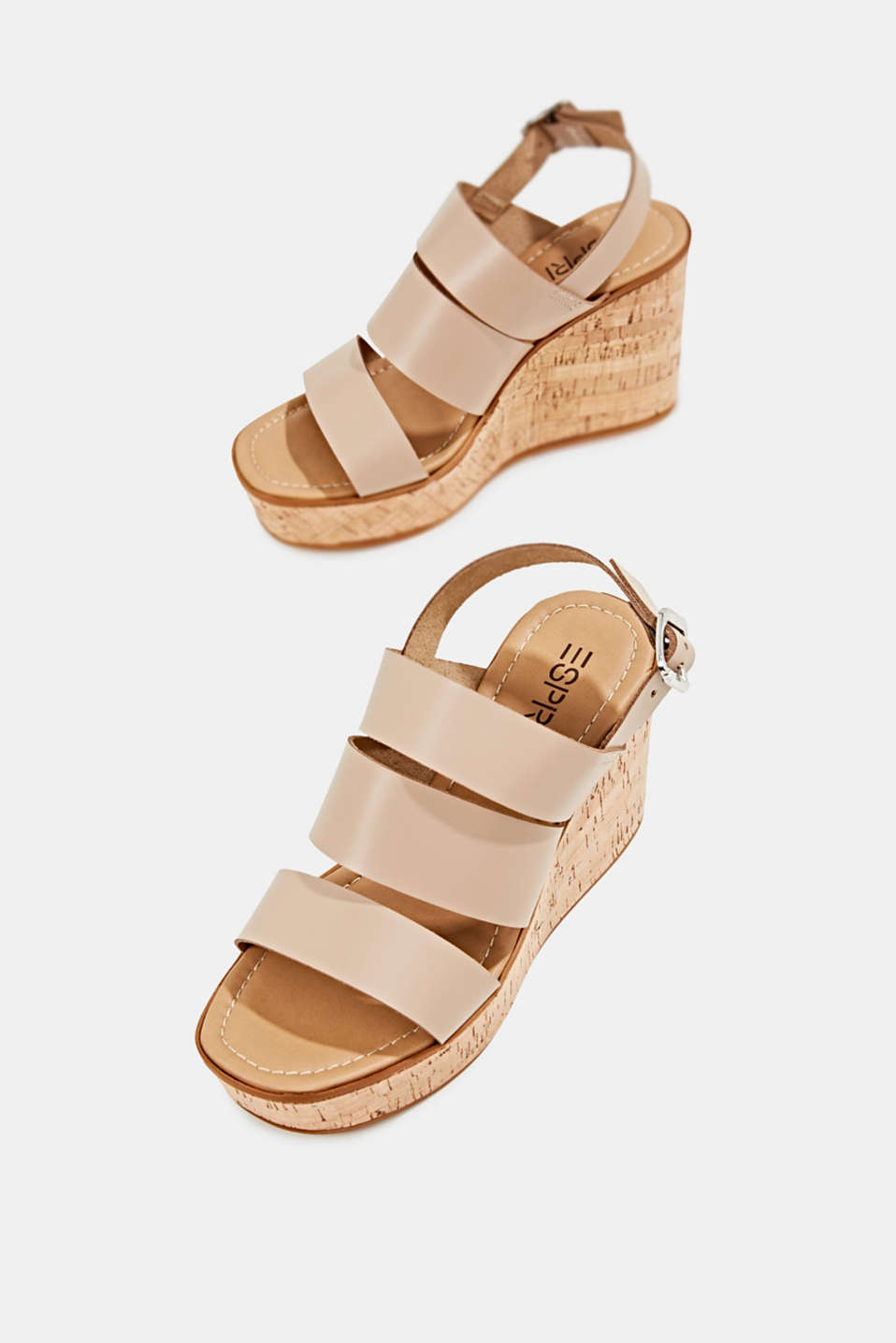 Leather wedge sandals, BEIGE, detail image number 1