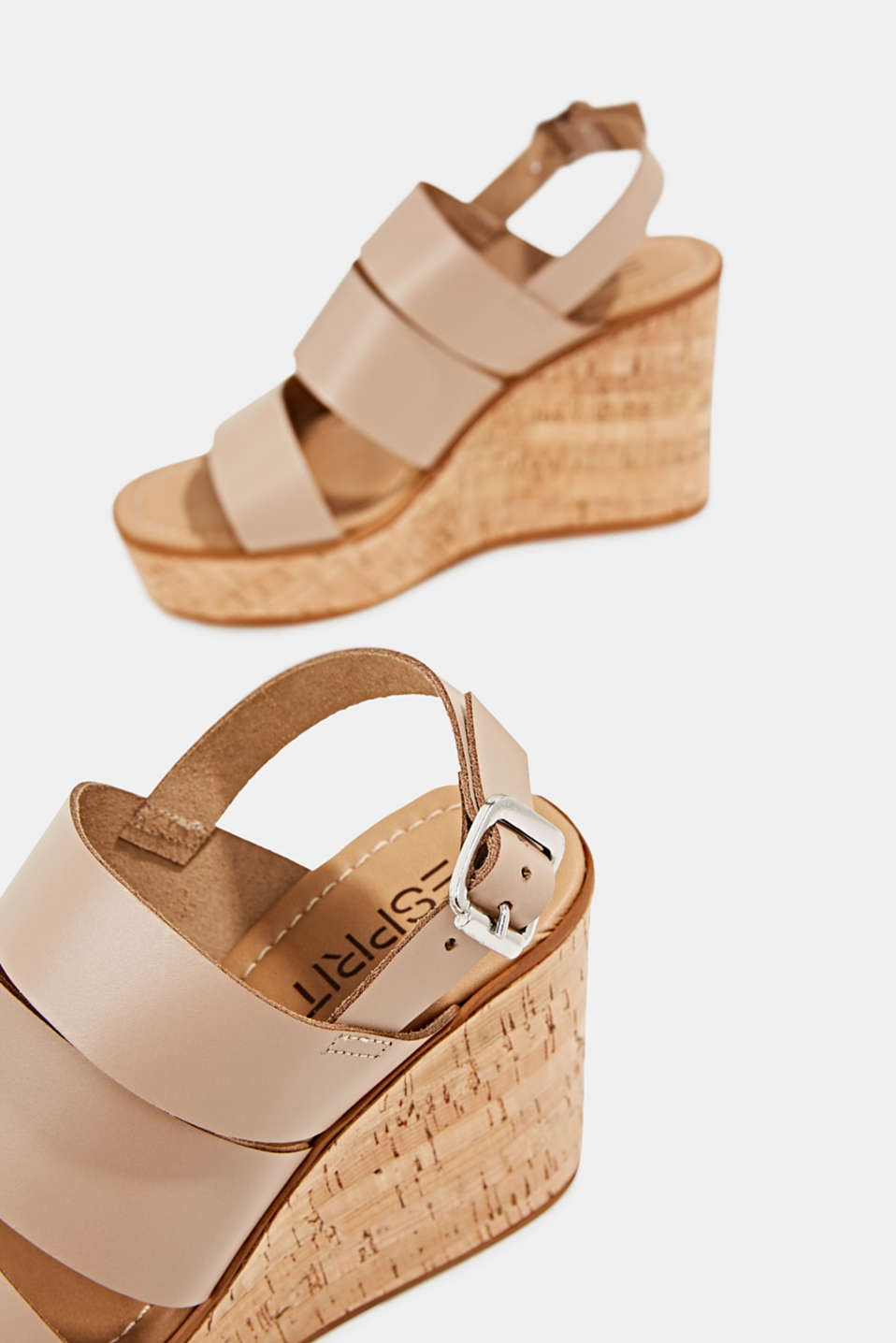 Leather wedge sandals, BEIGE, detail image number 4