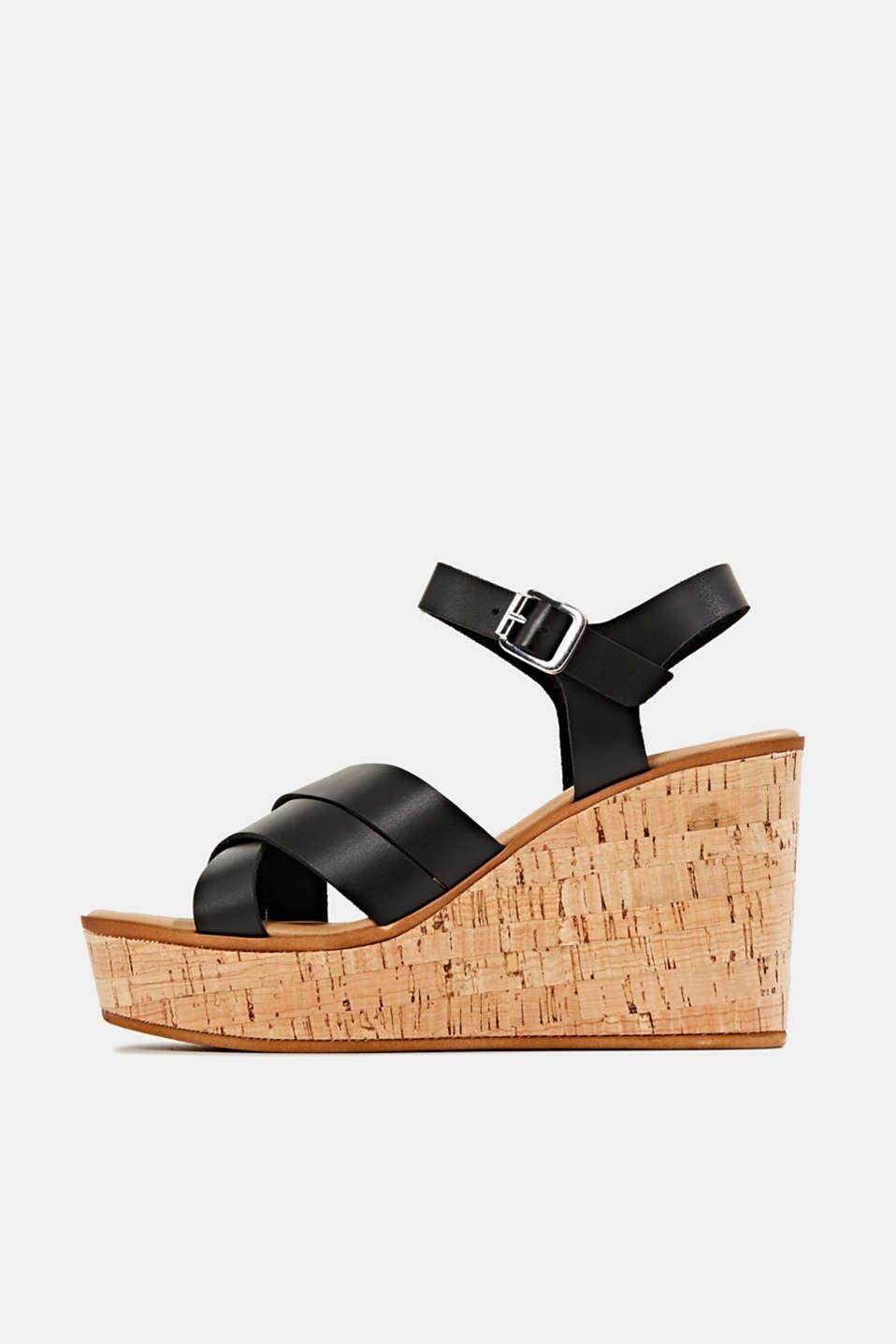 Leather wedge sandals, BLACK, detail image number 0