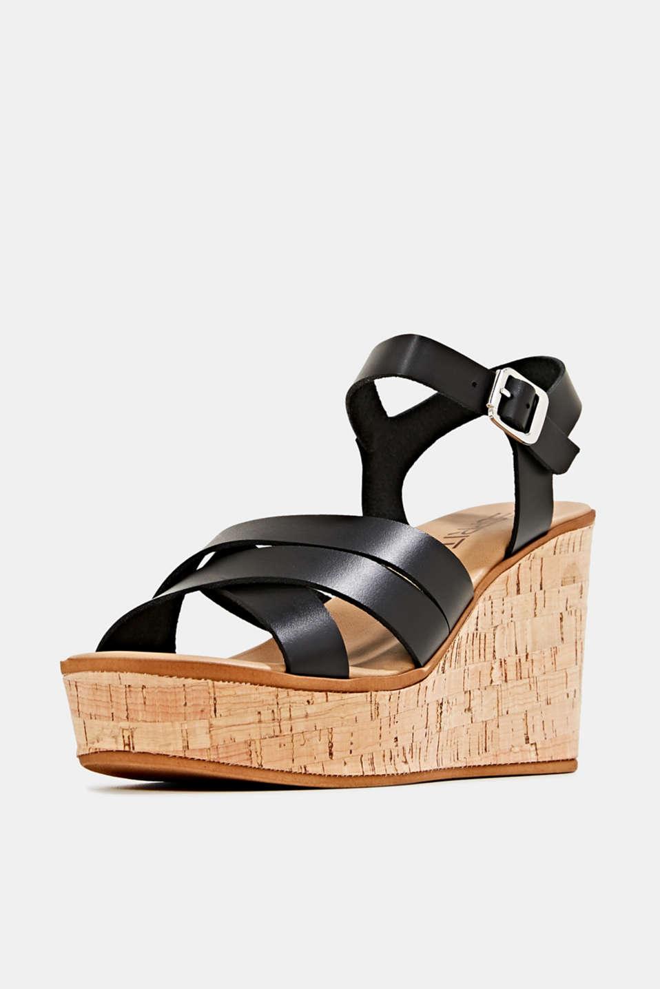Leather wedge sandals, BLACK, detail image number 1