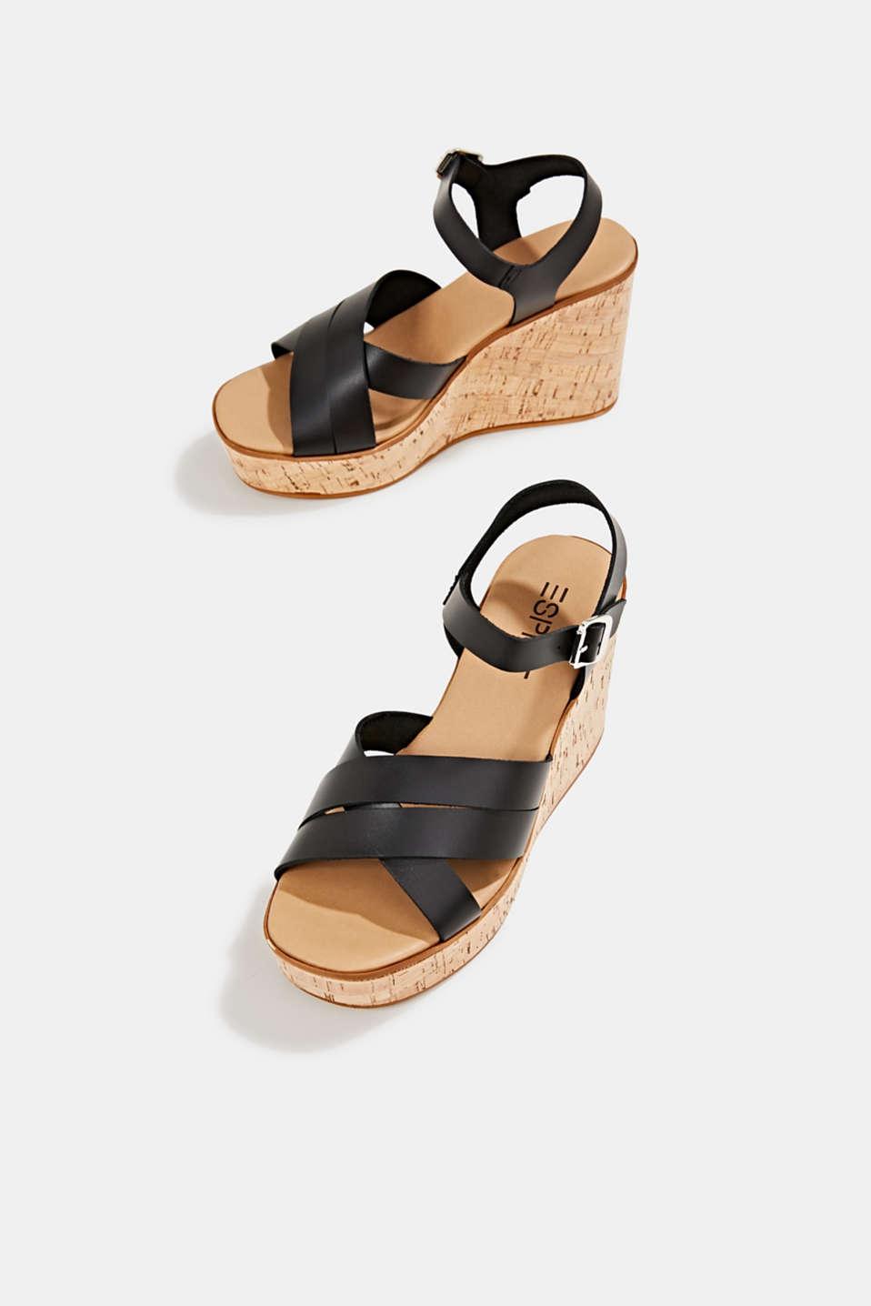 Leather wedge sandals, BLACK, detail image number 5