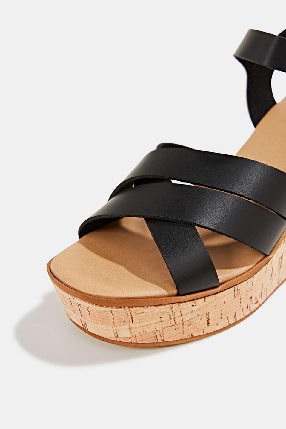Leather wedge sandals, BLACK, detail image number 3