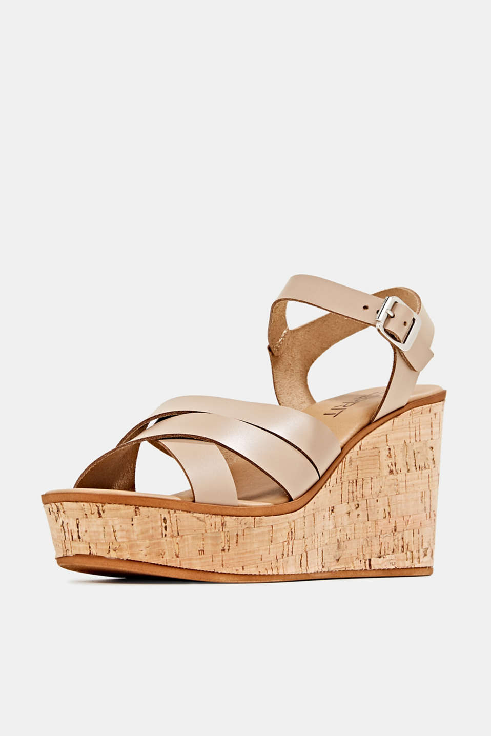 Leather wedge sandals, BEIGE, detail image number 2
