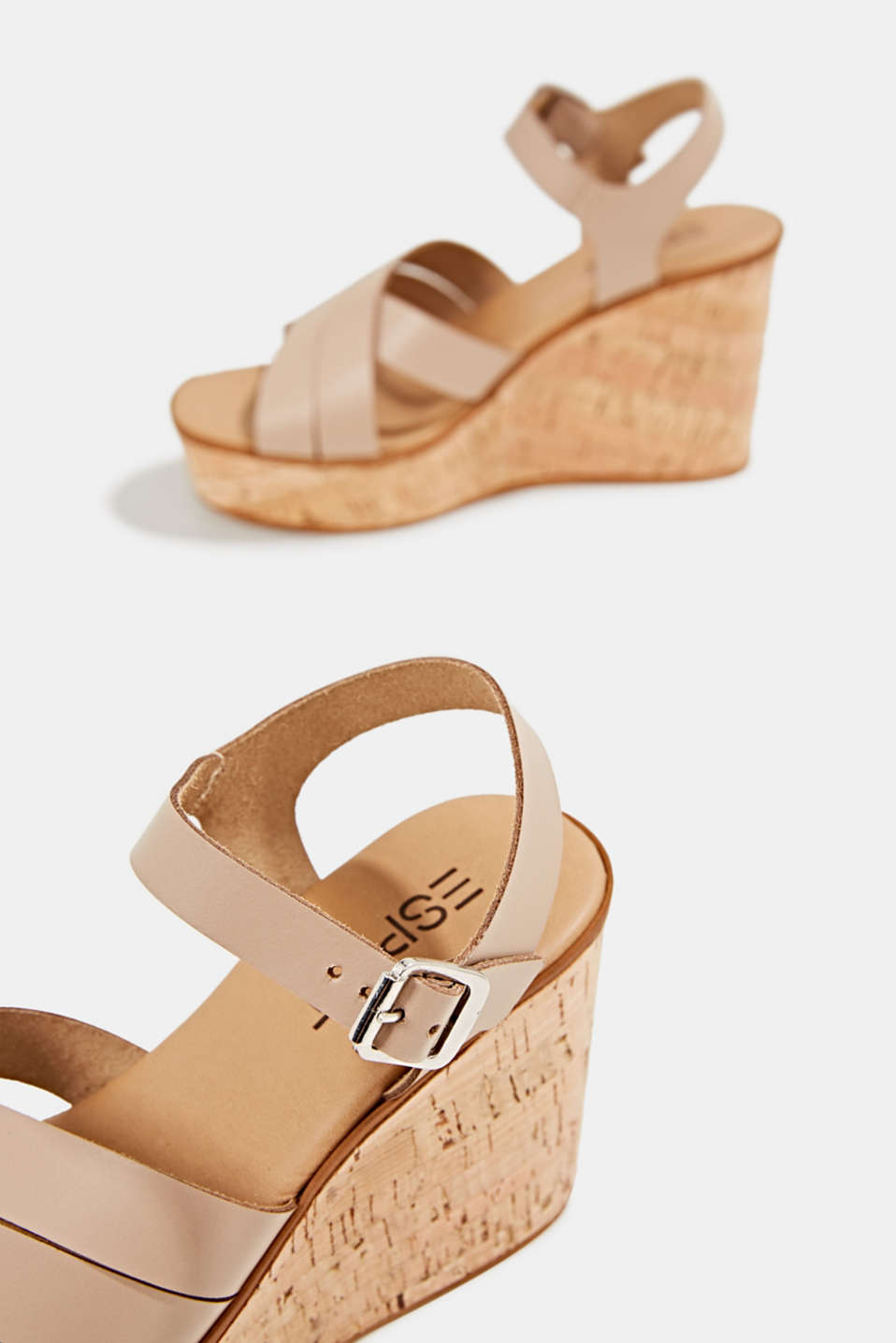 Leather wedge sandals, BEIGE, detail image number 5