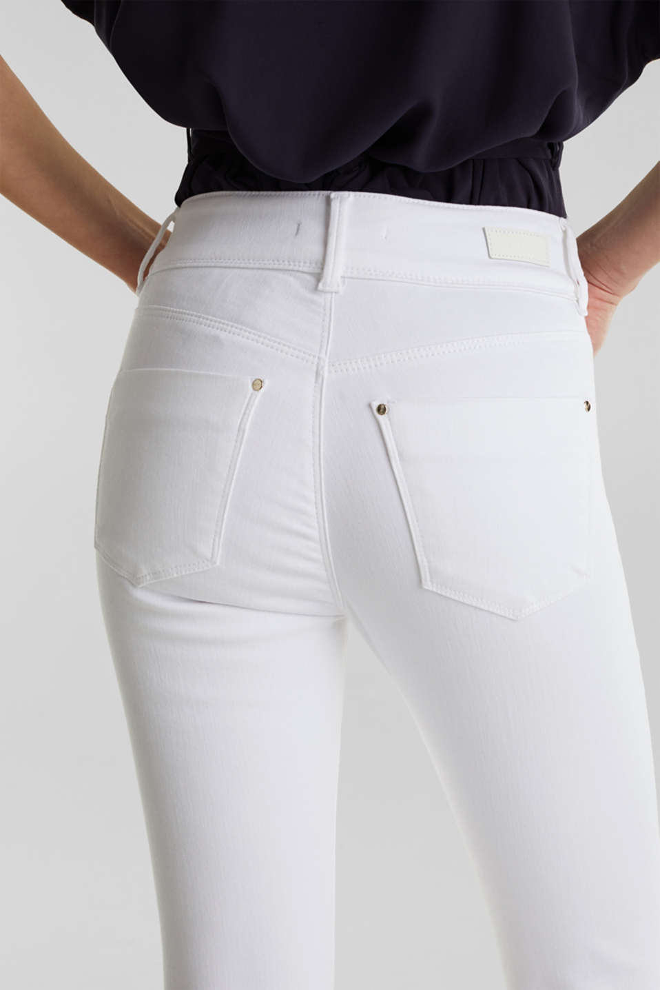 Business capris in shaping denim, WHITE, detail image number 5
