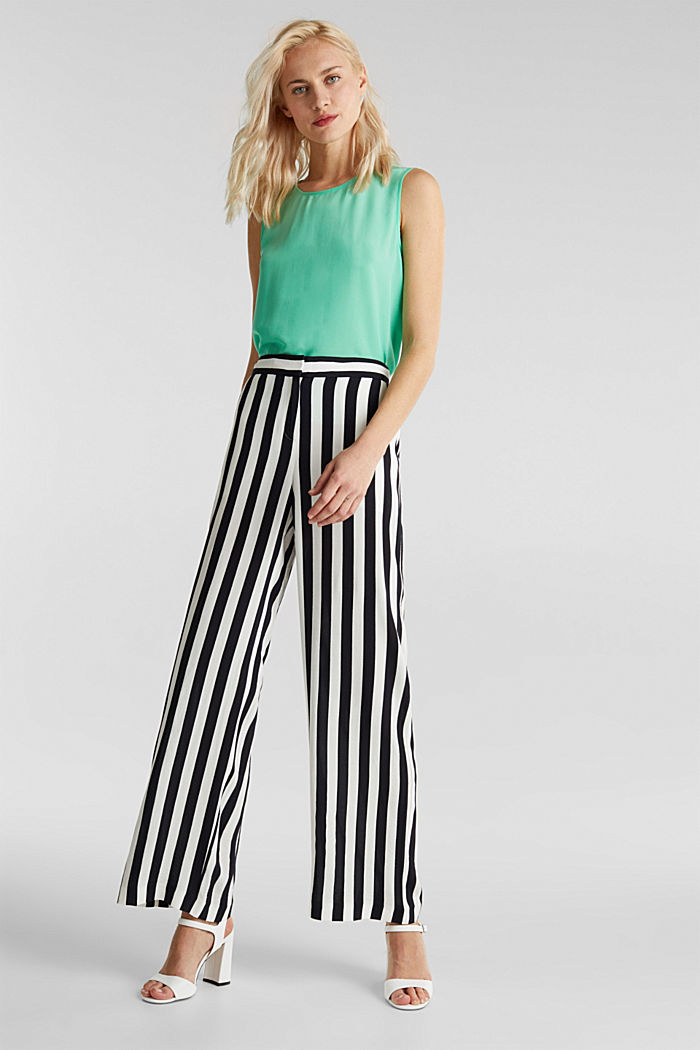 Crêpe trousers with an elasticated waistband, OFF WHITE, detail image number 1
