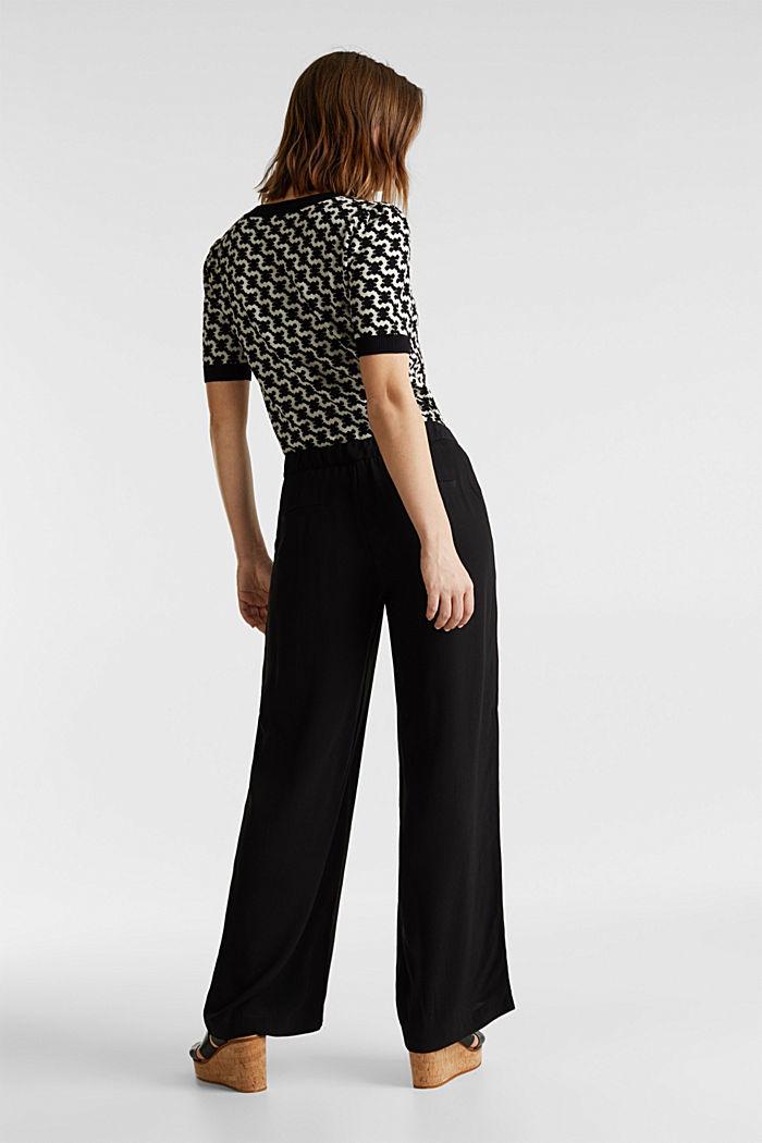 Crêpe trousers, LENZING™ ECOVERO™, BLACK, detail image number 3