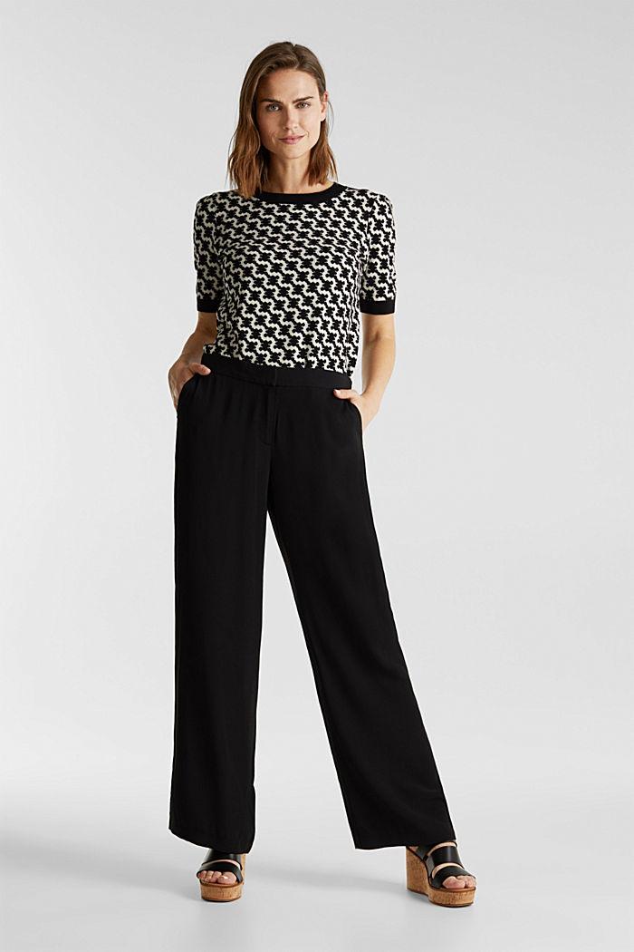 Crêpe trousers, LENZING™ ECOVERO™, BLACK, detail image number 1
