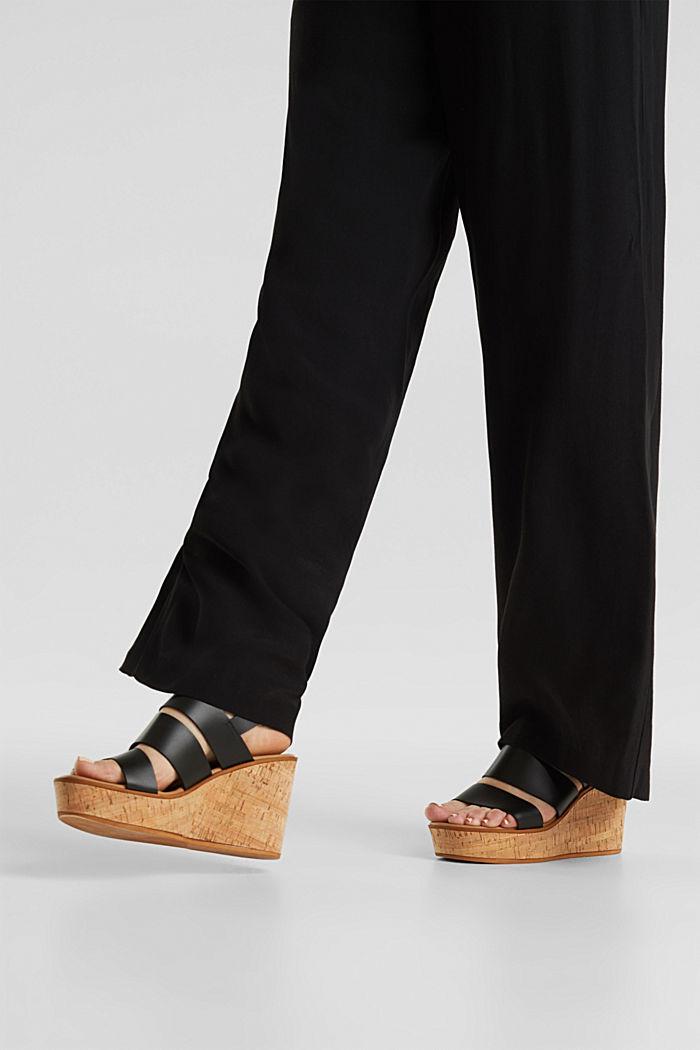 Crêpe trousers, LENZING™ ECOVERO™, BLACK, detail image number 2
