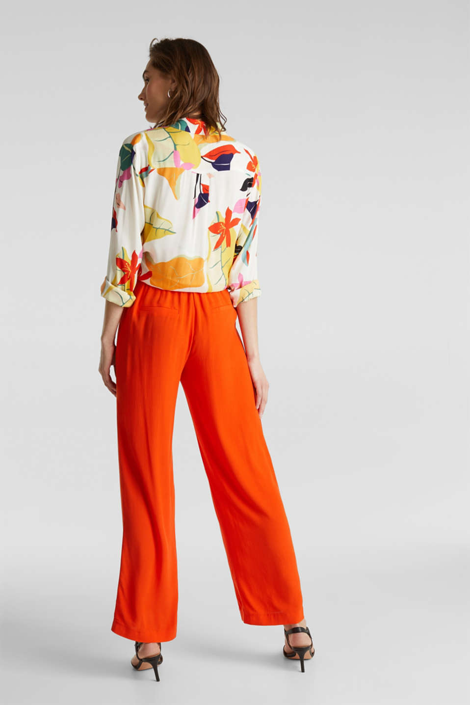 Crêpe trousers, LENZING™ ECOVERO™, RED ORANGE, detail image number 3