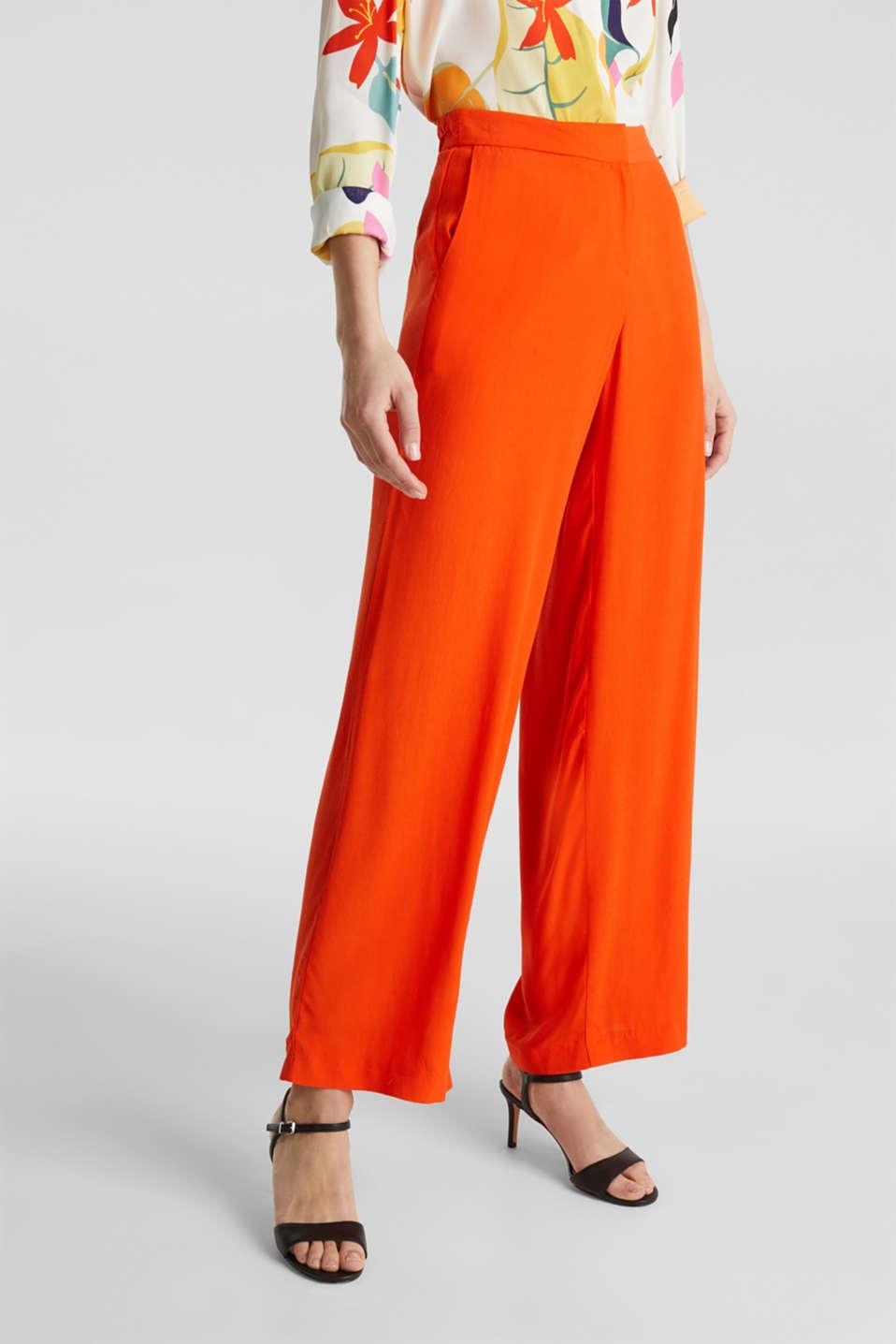 Crêpe trousers, LENZING™ ECOVERO™, RED ORANGE, detail image number 6