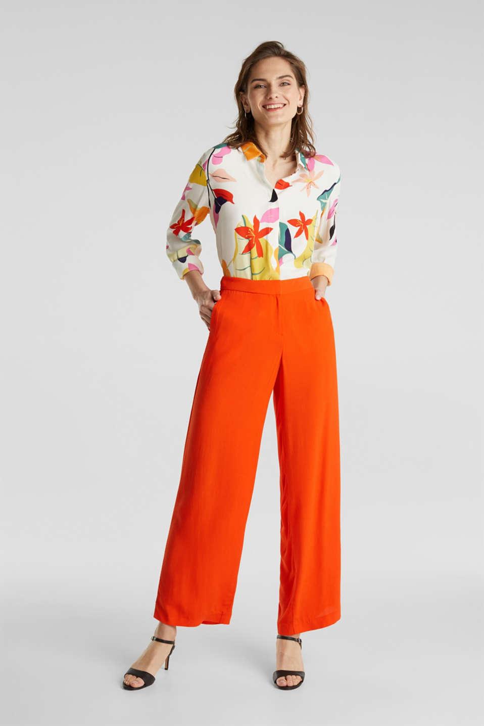 Crêpe trousers, LENZING™ ECOVERO™, RED ORANGE, detail image number 1