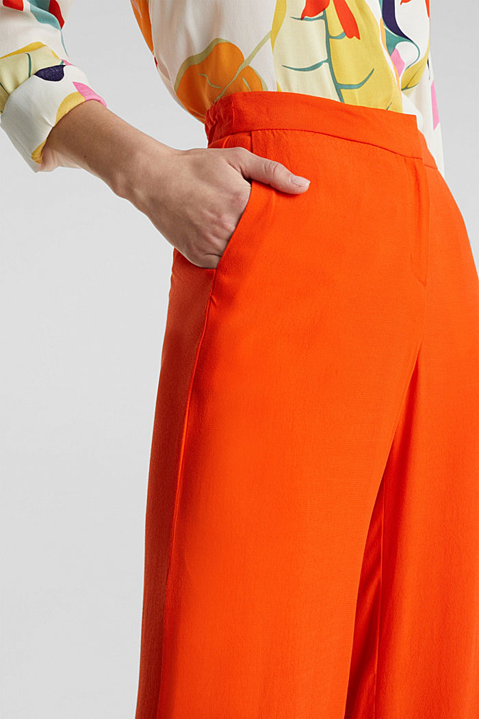 Crêpe trousers, LENZING™ ECOVERO™, RED ORANGE, detail image number 2