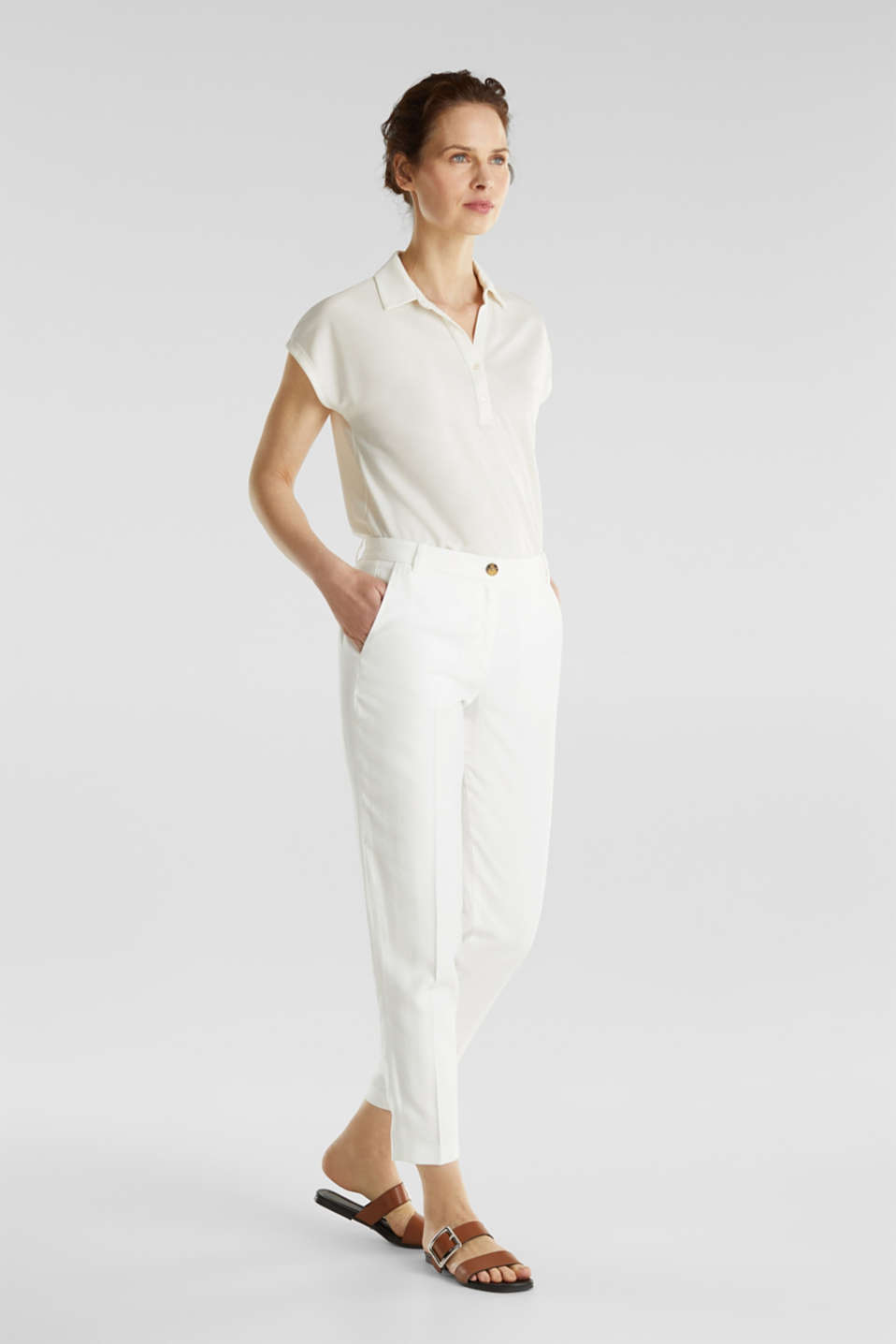 Ankle-length trousers with a flowing drape, WHITE, detail image number 0