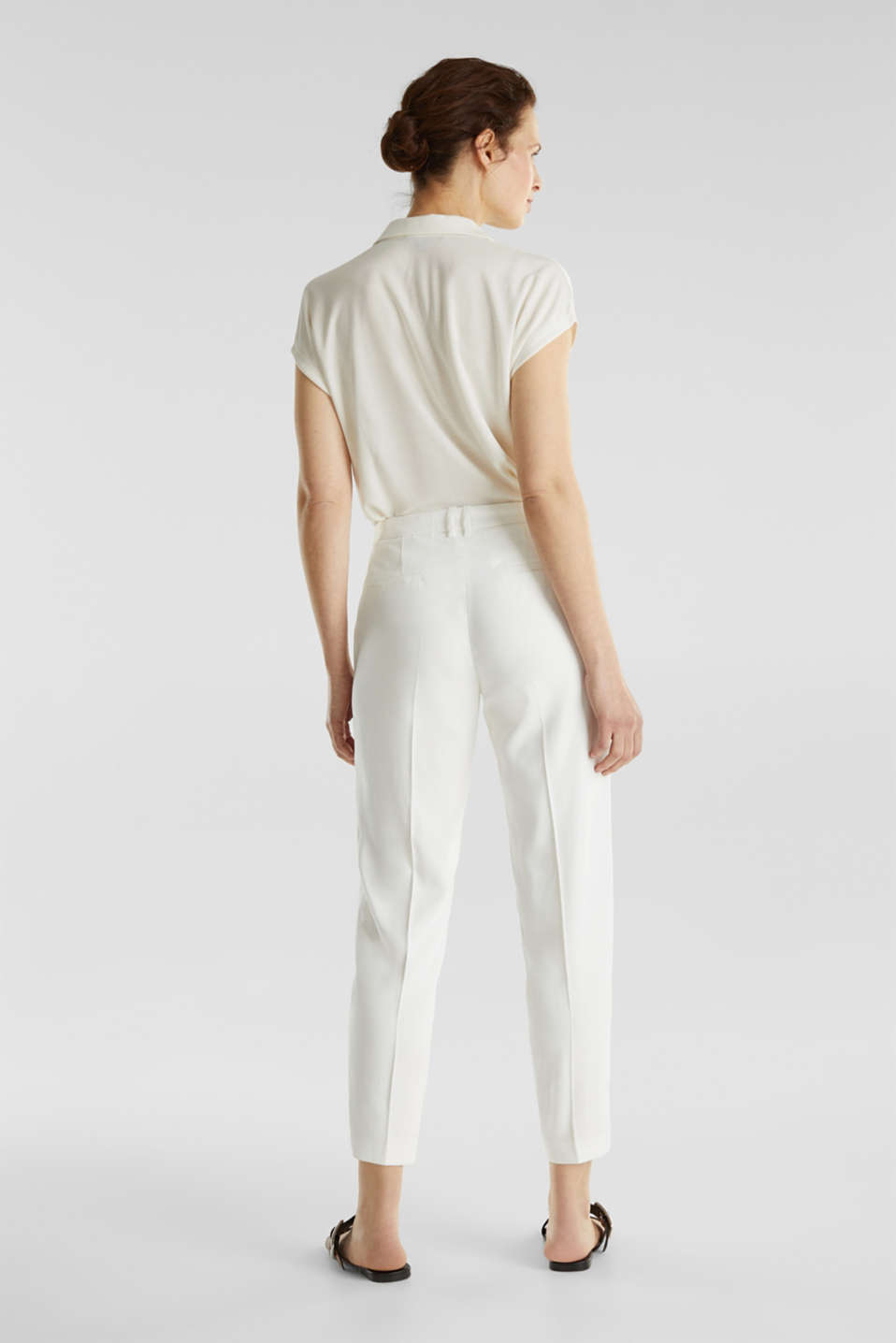 Ankle-length trousers with a flowing drape, WHITE, detail image number 3