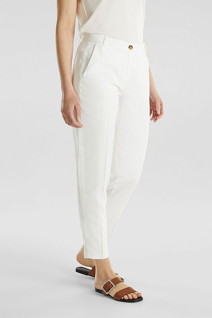 Ankle-length trousers with a flowing drape, WHITE, detail image number 4