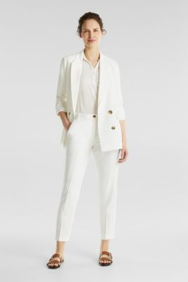 Ankle-length trousers with a flowing drape, WHITE, detail