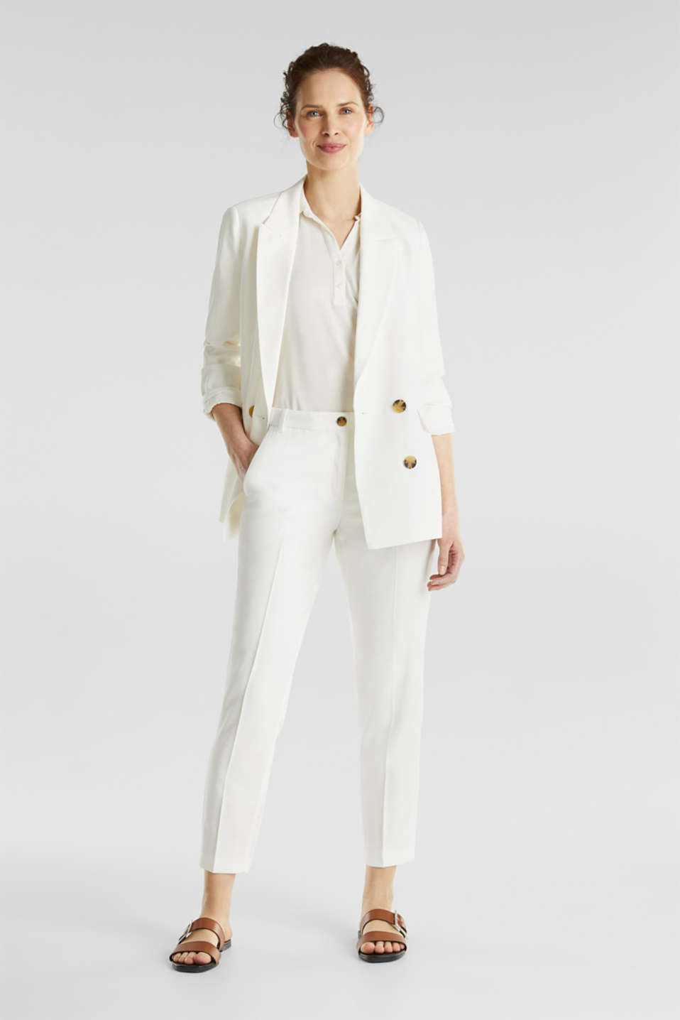 Ankle-length trousers with a flowing drape, WHITE, detail image number 1