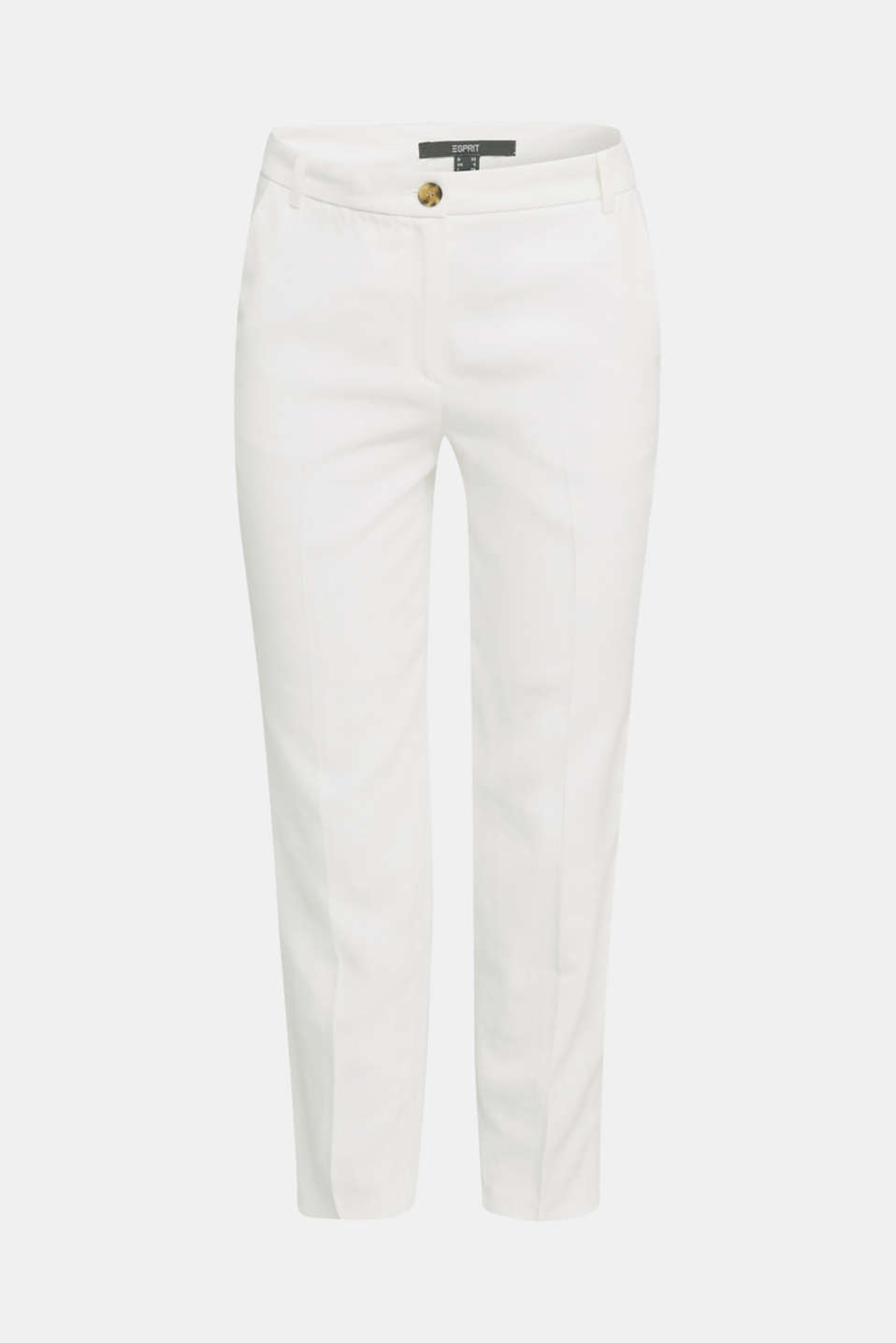 Ankle-length trousers with a flowing drape, WHITE, detail image number 5