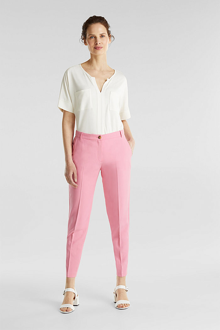 Ankle-length trousers with a flowing drape, PINK, detail image number 0