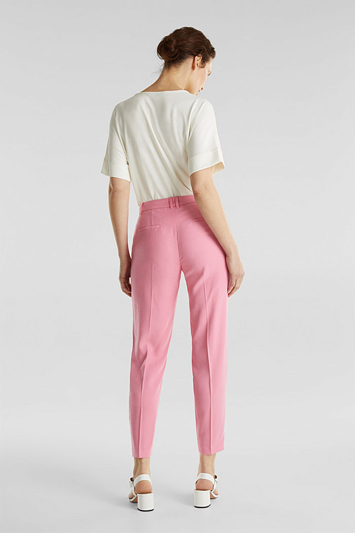 Ankle-length trousers with a flowing drape, PINK, detail image number 3