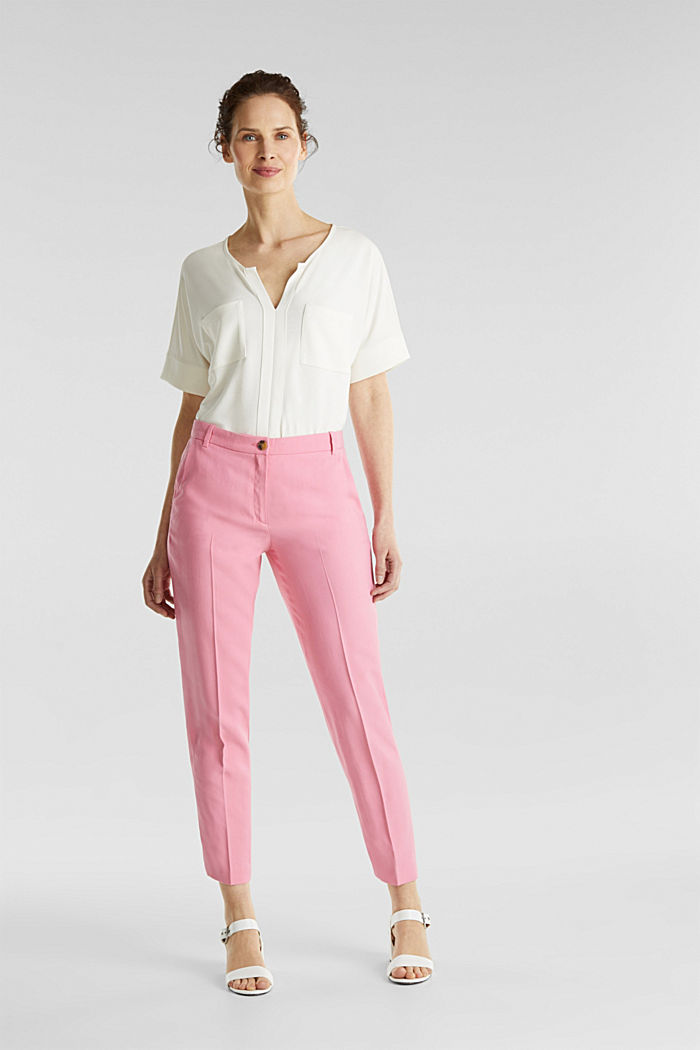 Ankle-length trousers with a flowing drape, PINK, detail image number 1